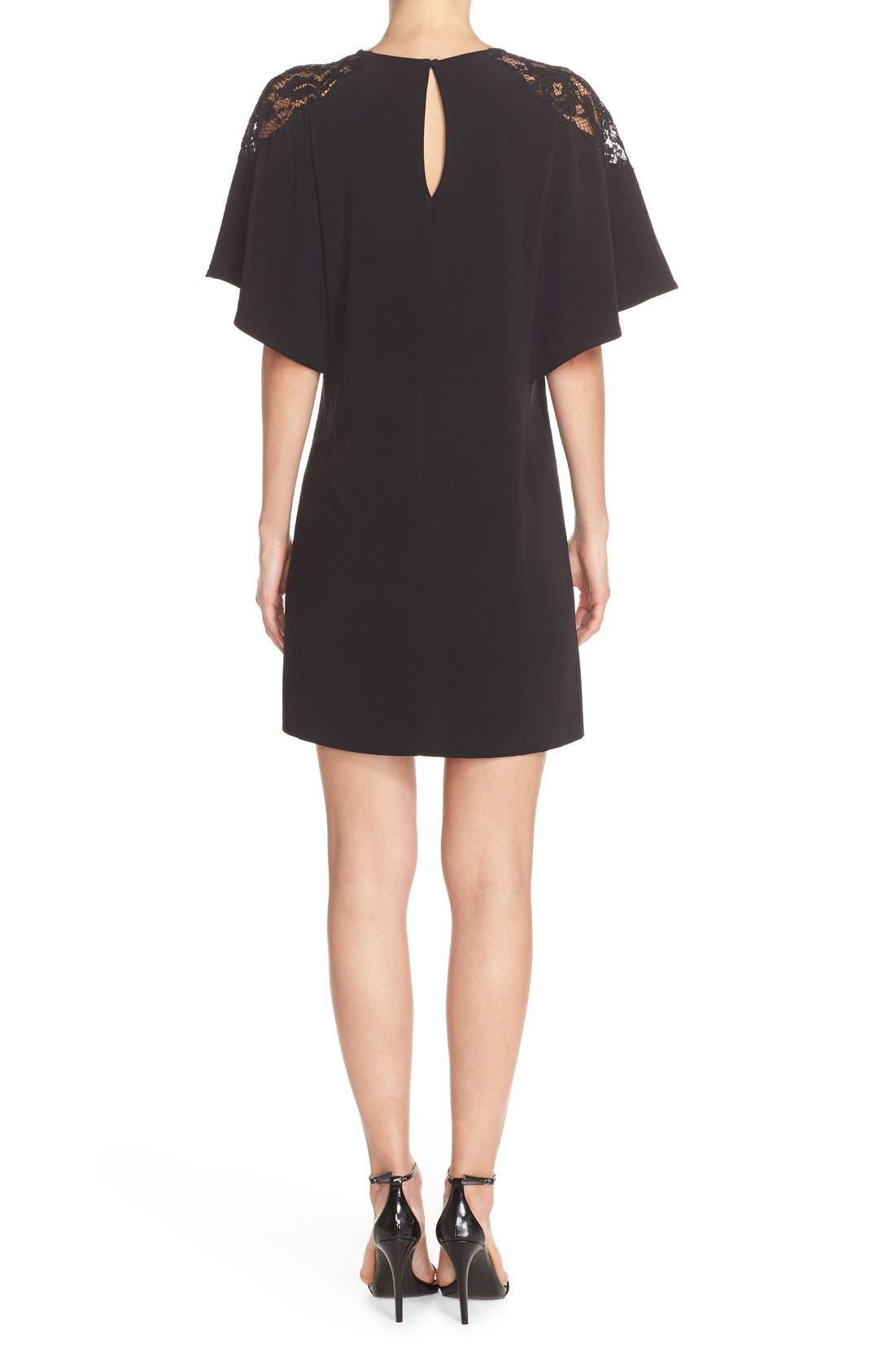 Lace Shoulder Crepe A-Line Dress,                             Alternate thumbnail 3, color,                             005