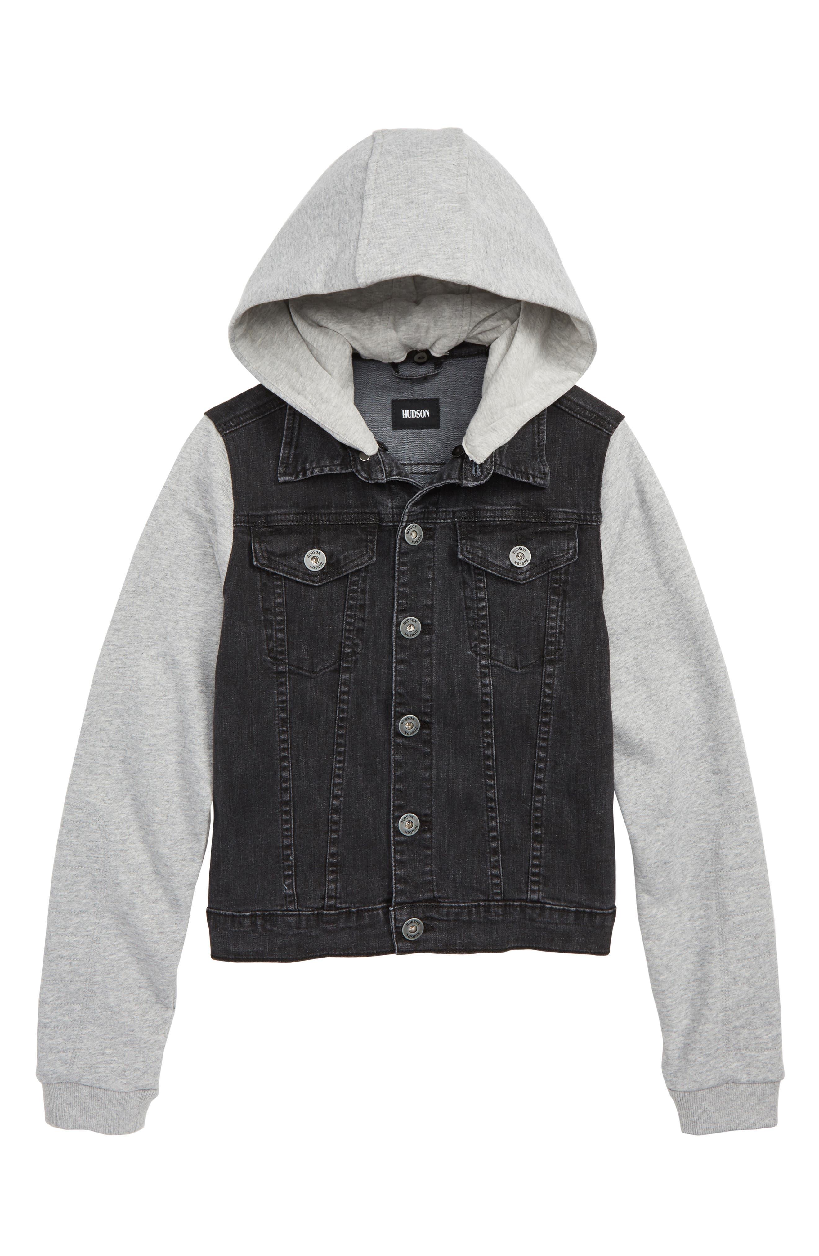 Emerson Hooded Denim Jacket,                         Main,                         color, GRAY