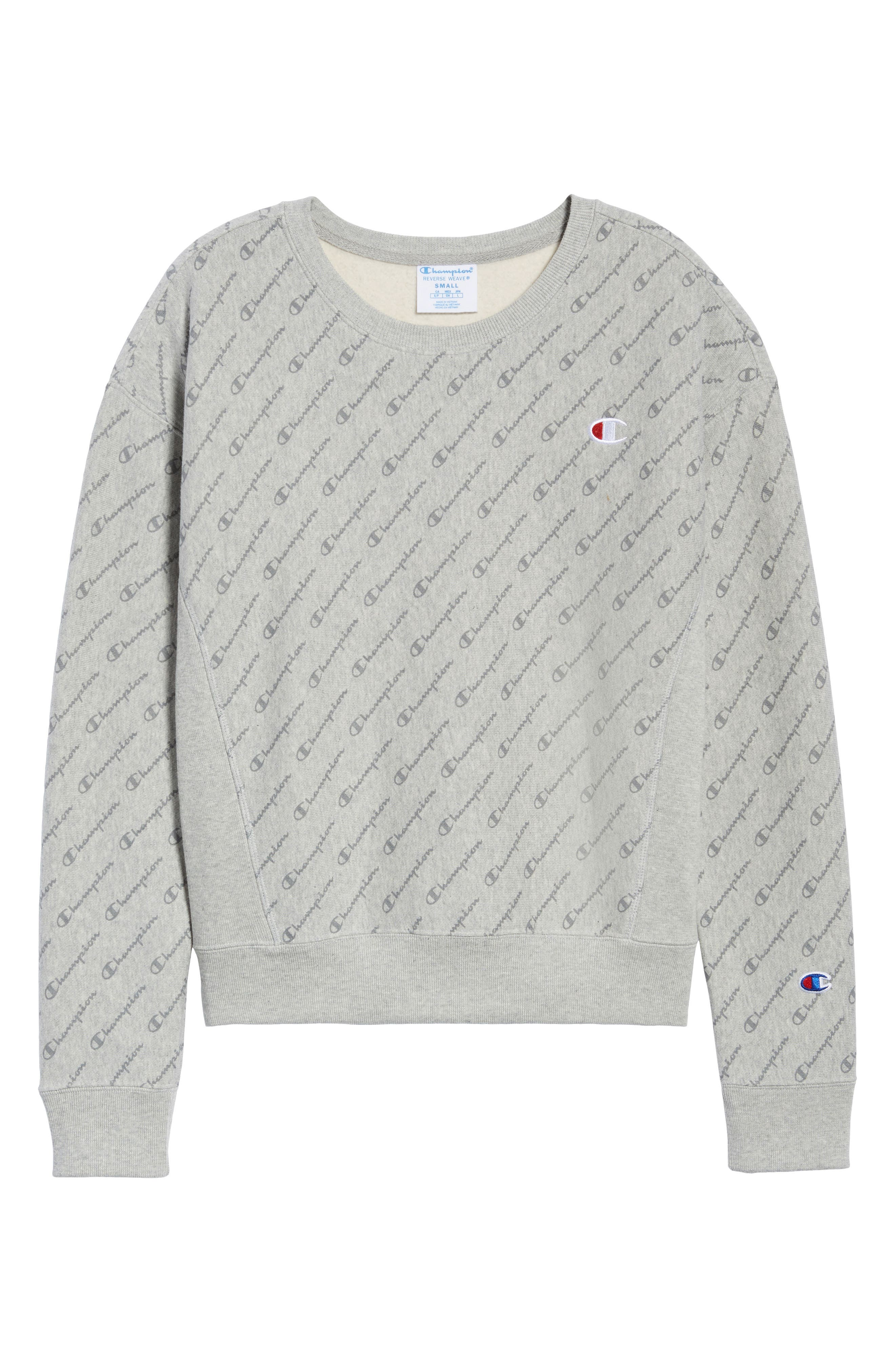 All Over Logo Reverse Weave Sweatshirt,                             Alternate thumbnail 3, color,                             DIAG LOGO SCRIPT HEATHER