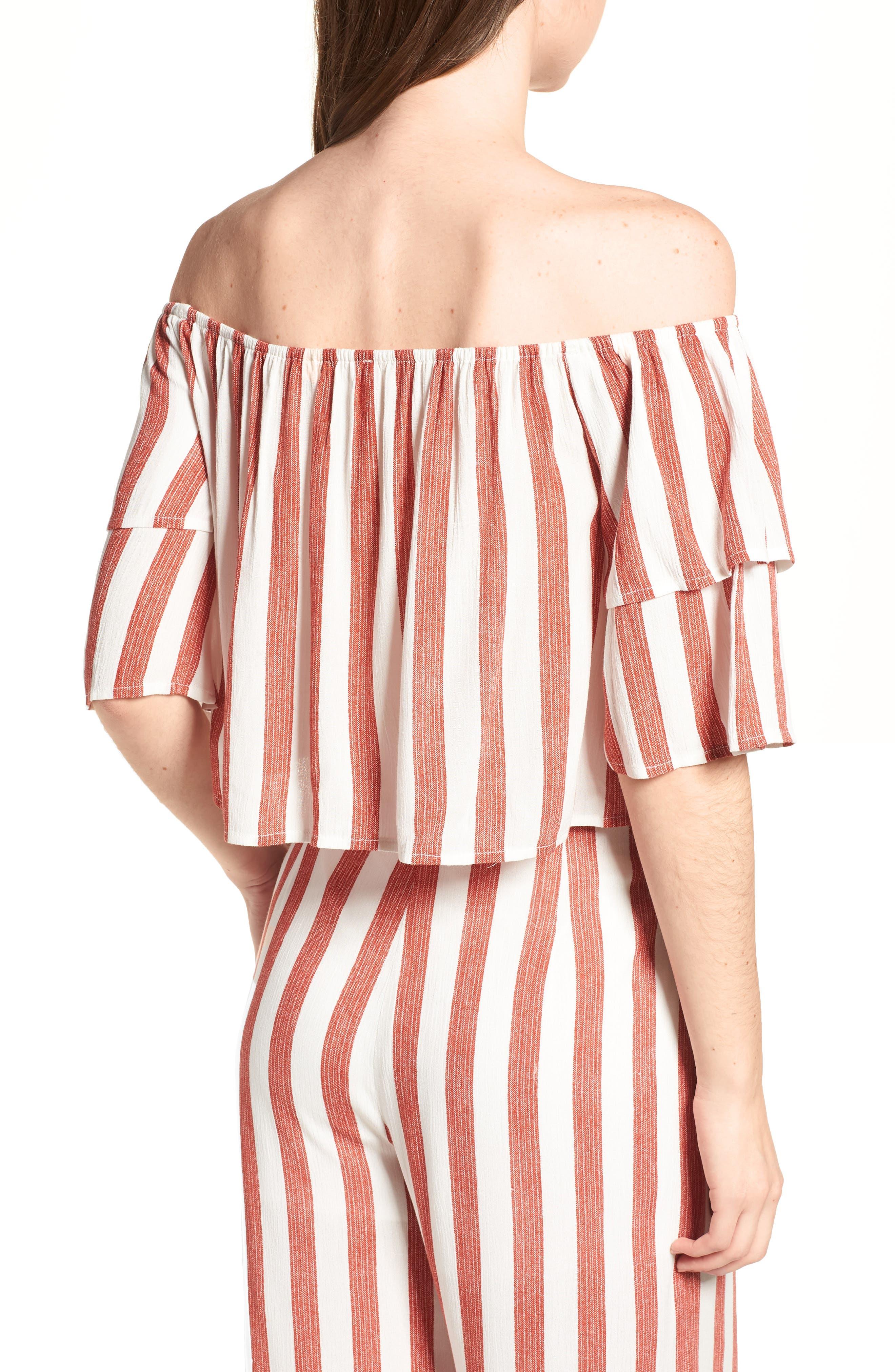 Stripe Off the Shoulder Top,                         Main,                         color, 600