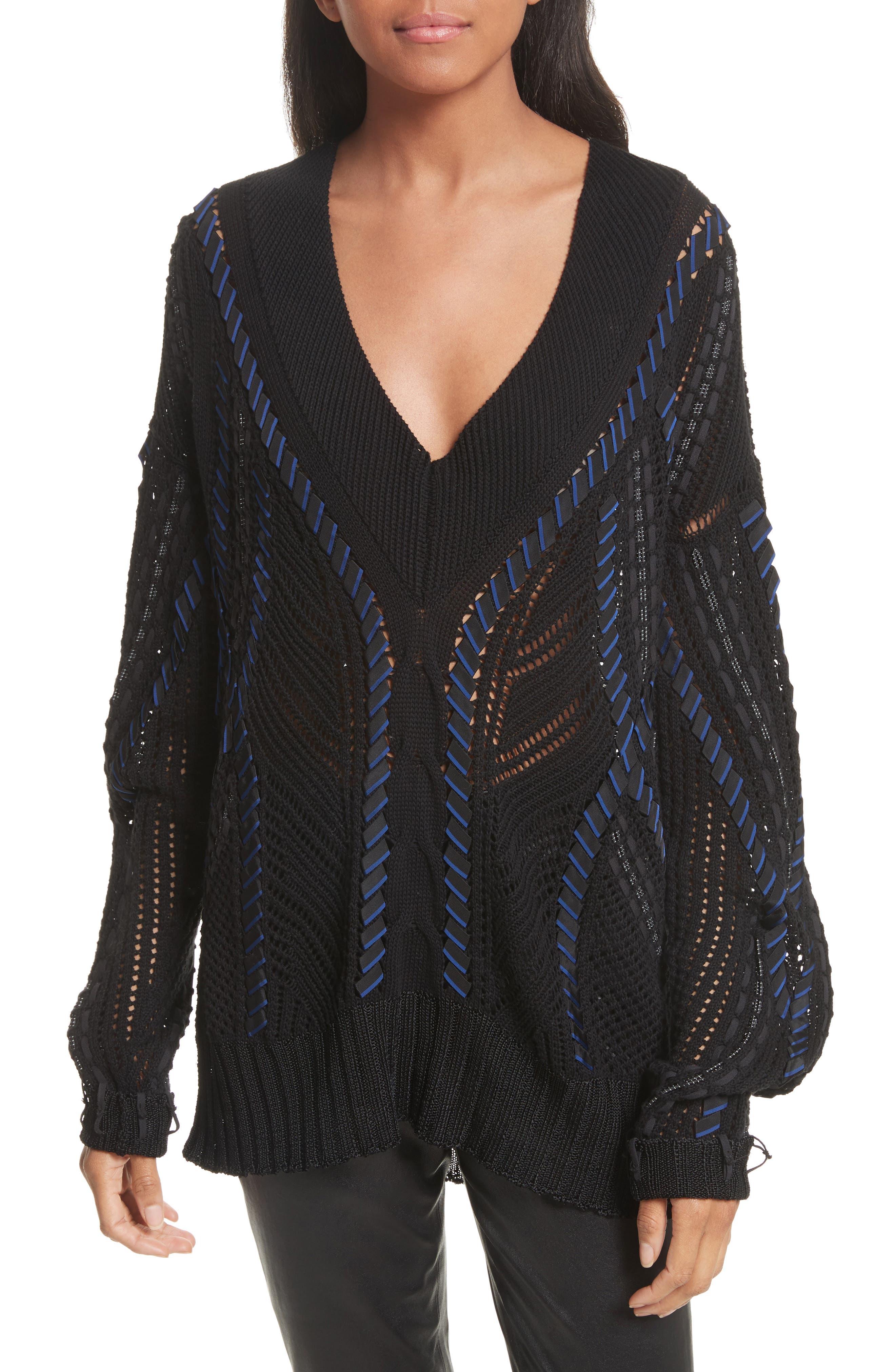 Lucie Pointelle Knit Cotton Blend Sweater,                         Main,                         color, 001