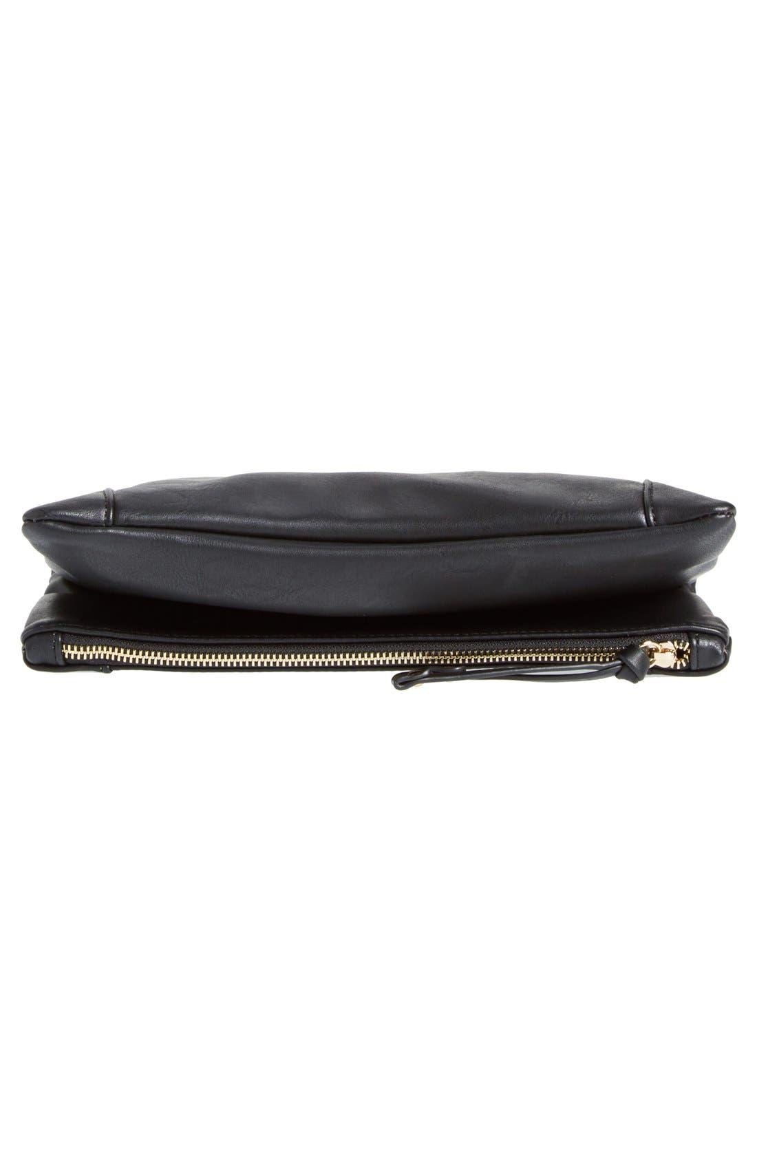Marlena Faux Leather Foldover Clutch,                             Alternate thumbnail 6, color,                             JET BLACK