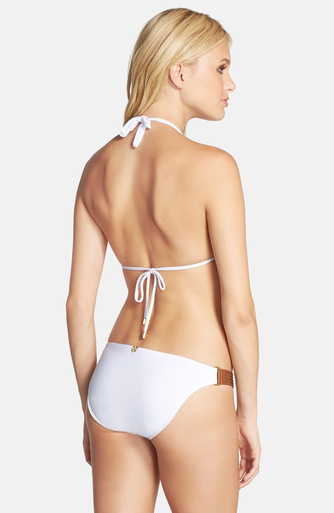 VIX SWIMWEAR,                             Slit Leather Side Bikini Bottoms,                             Alternate thumbnail 3, color,                             100