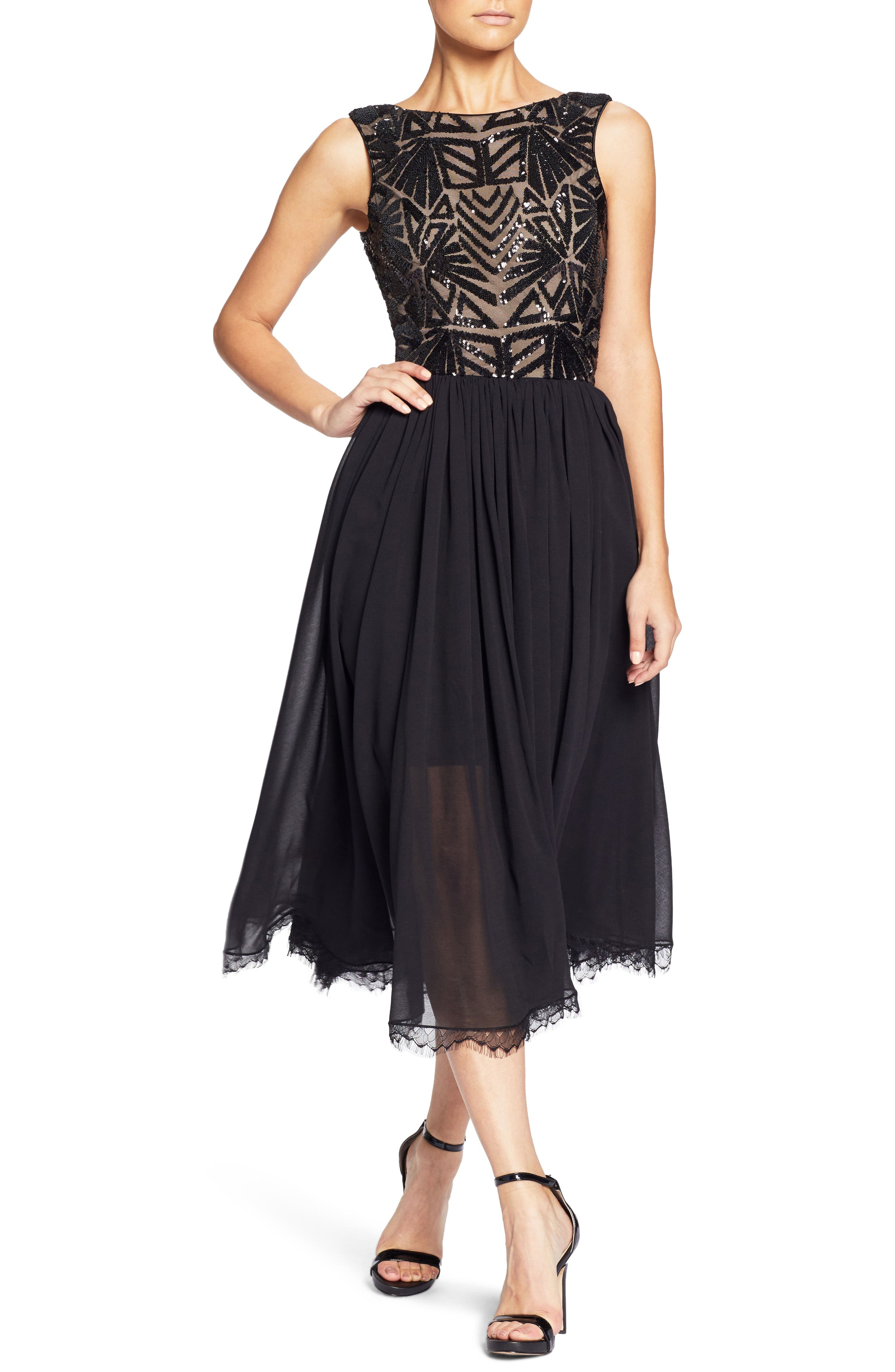 Dress The Population Cathy Sequin Tea Length Dress, Black