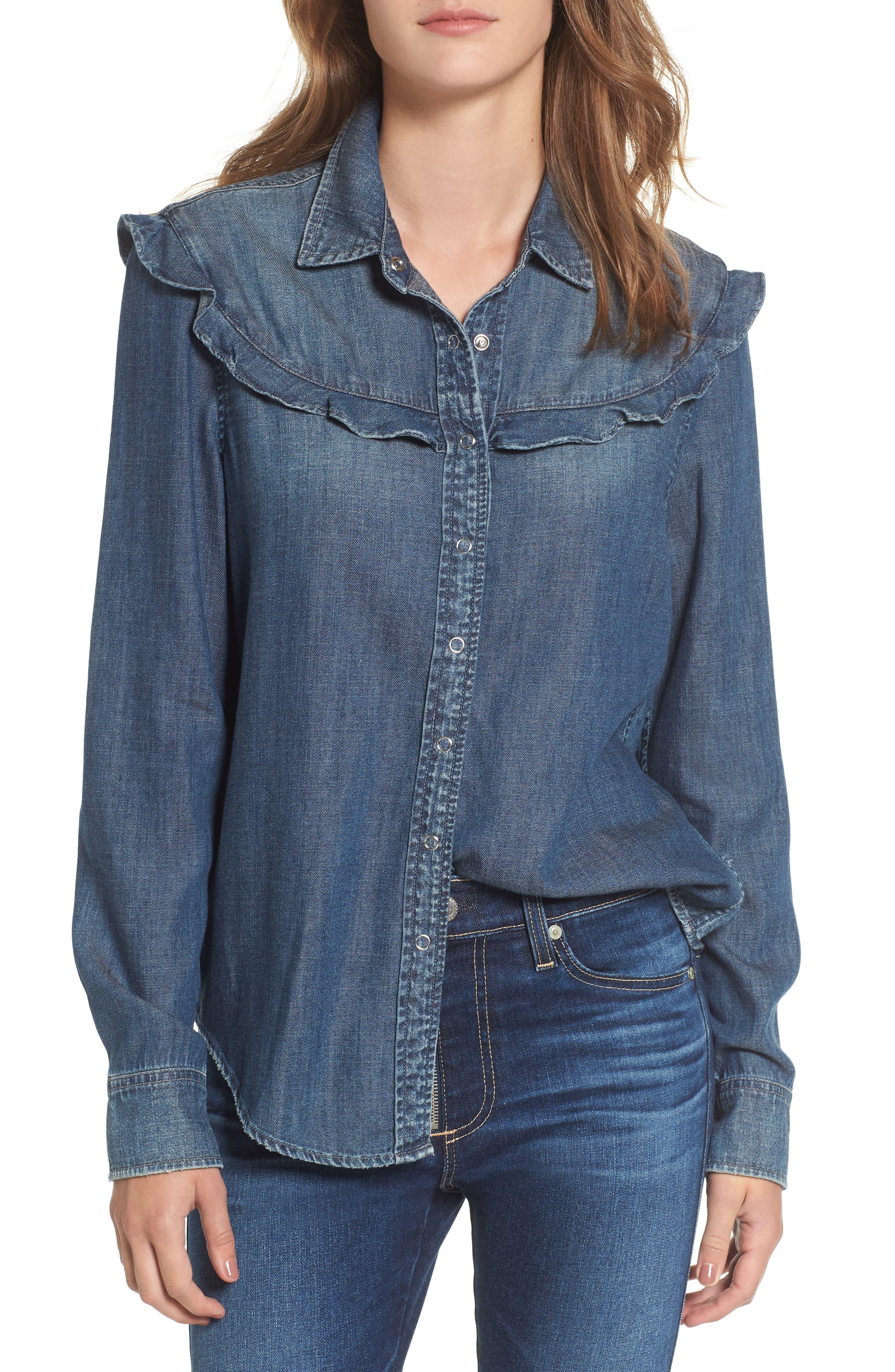 Joanna Ruffle Denim Shirt,                             Main thumbnail 1, color,                             412