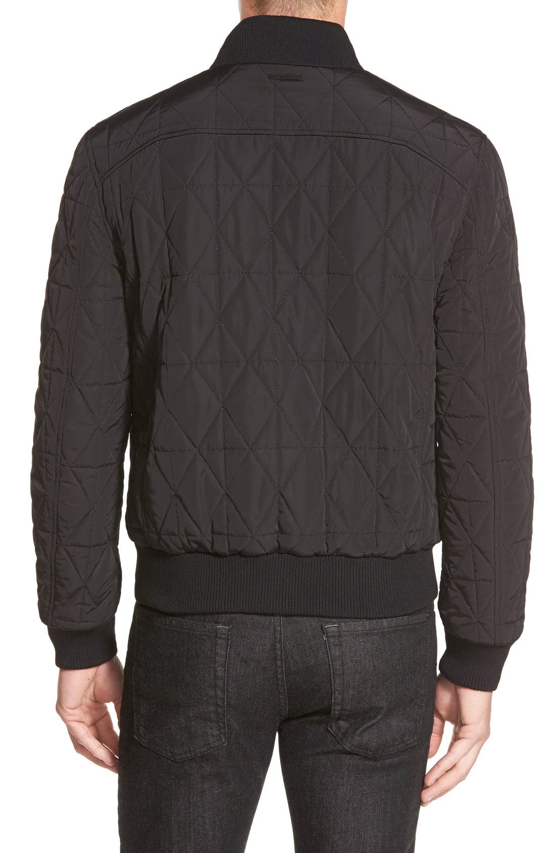 Diamond Quilted Zip Front Jacket,                             Alternate thumbnail 2, color,                             001