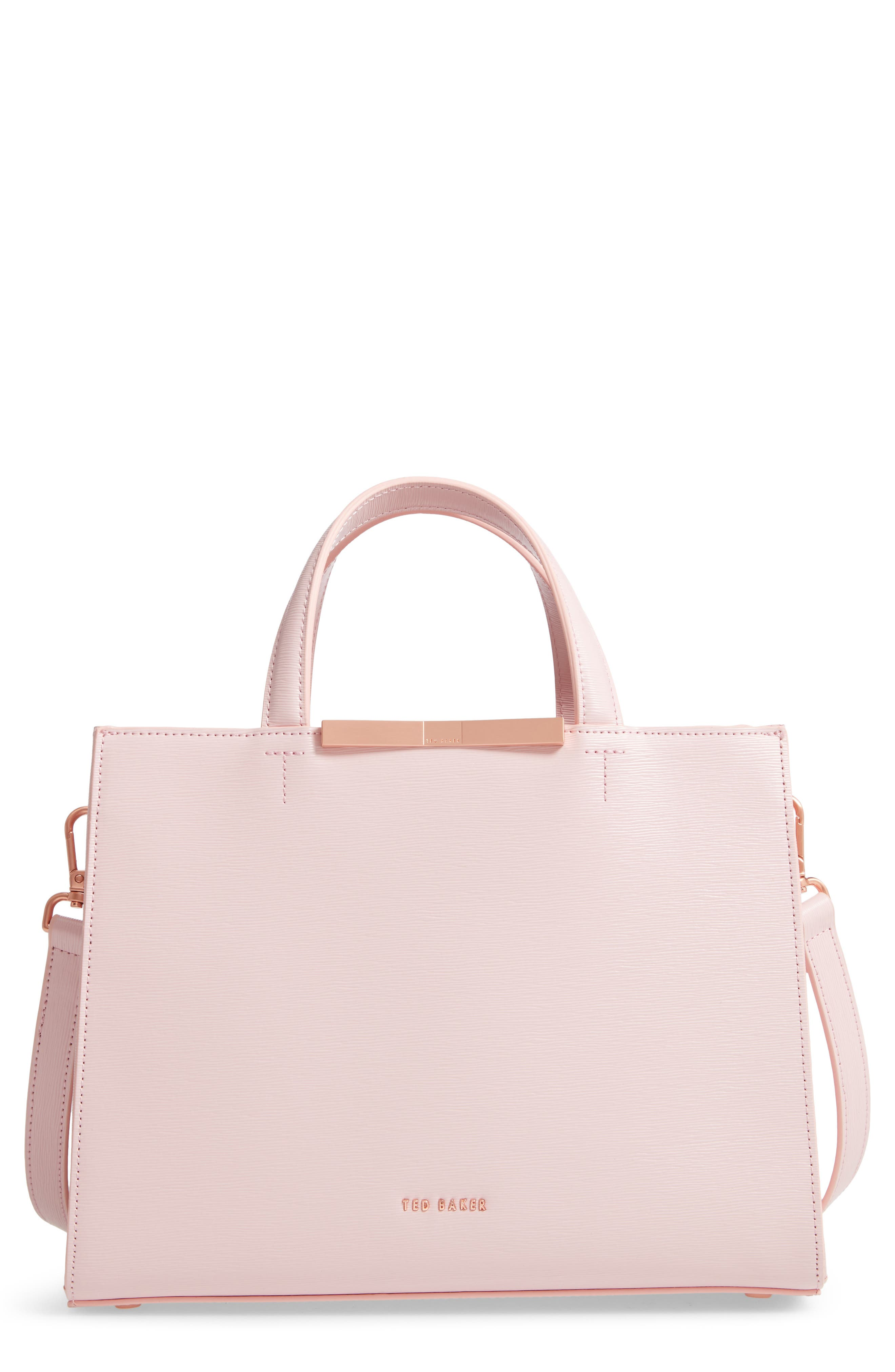TED BAKER LONDON,                             Jaanet Leather Satchel,                             Main thumbnail 1, color,                             LIGHT PINK