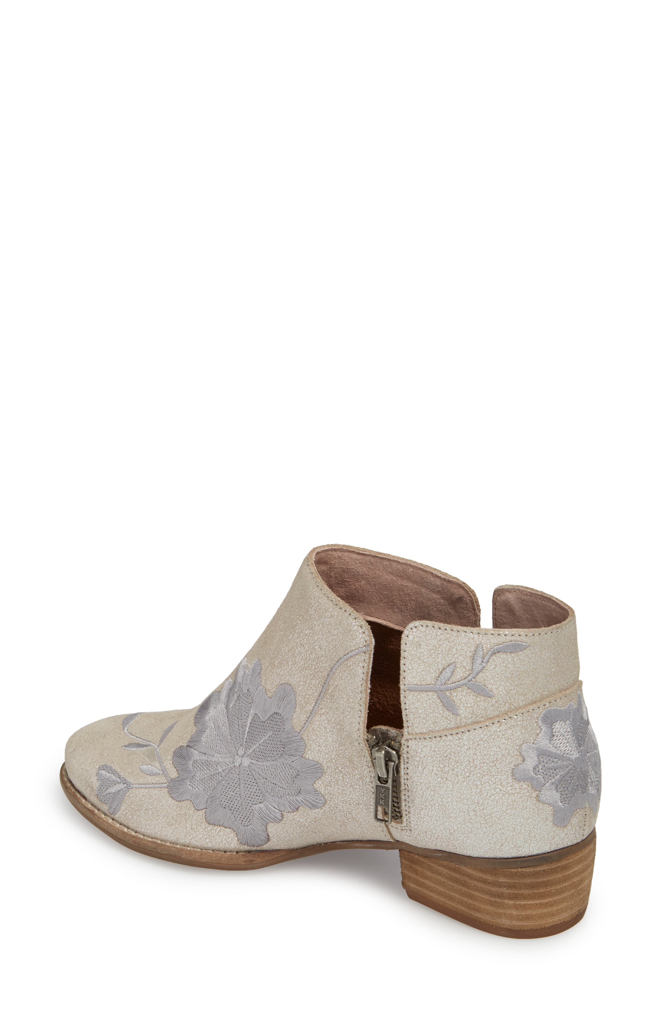 Lantern Embroidered Short Bootie,                             Alternate thumbnail 2, color,                             SILVER SUEDE