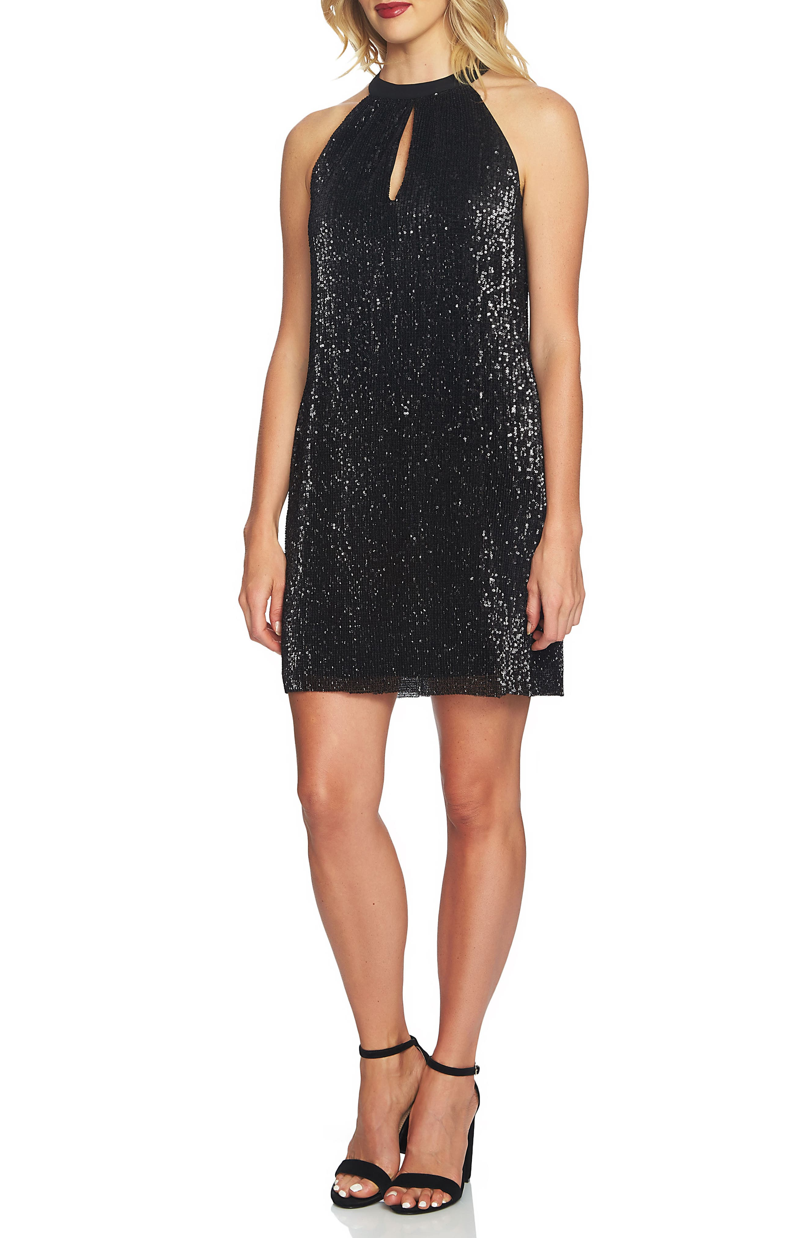 Sequin Halter Dress,                             Main thumbnail 1, color,                             006