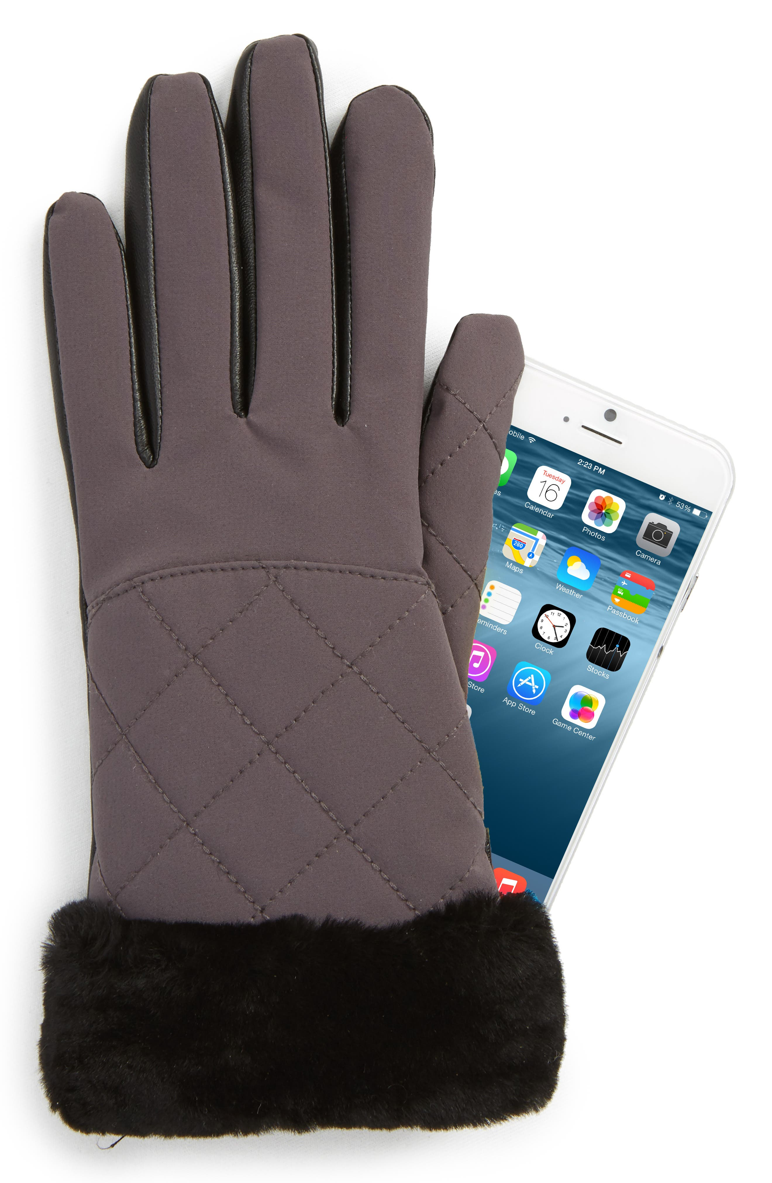 UGG<sup>®</sup> Water Resistant Touchscreen Quilted Nylon, Leather & Genuine Shearling Gloves,                             Alternate thumbnail 4, color,