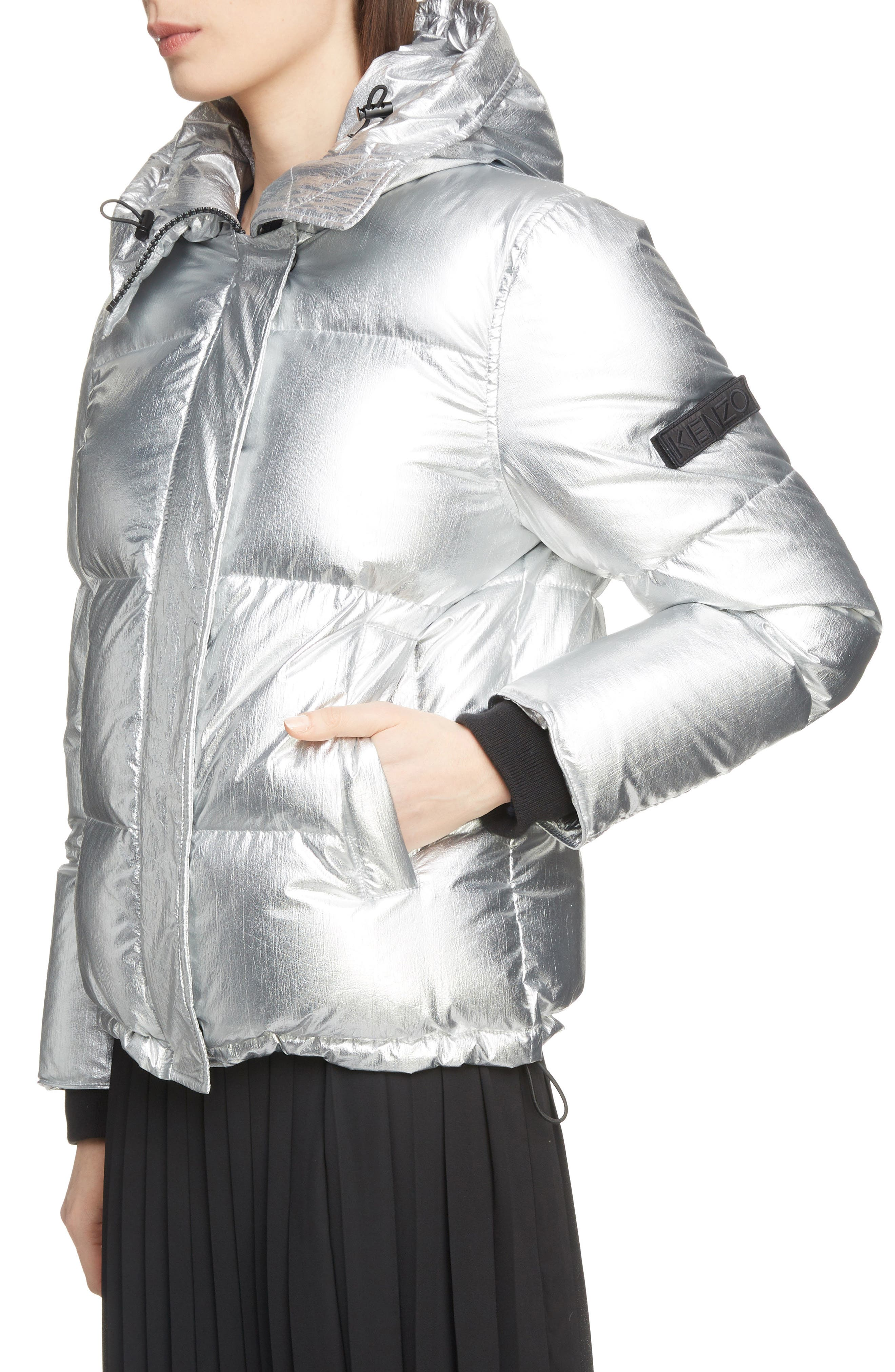 Metallic Down Puffer Coat,                             Alternate thumbnail 4, color,                             040