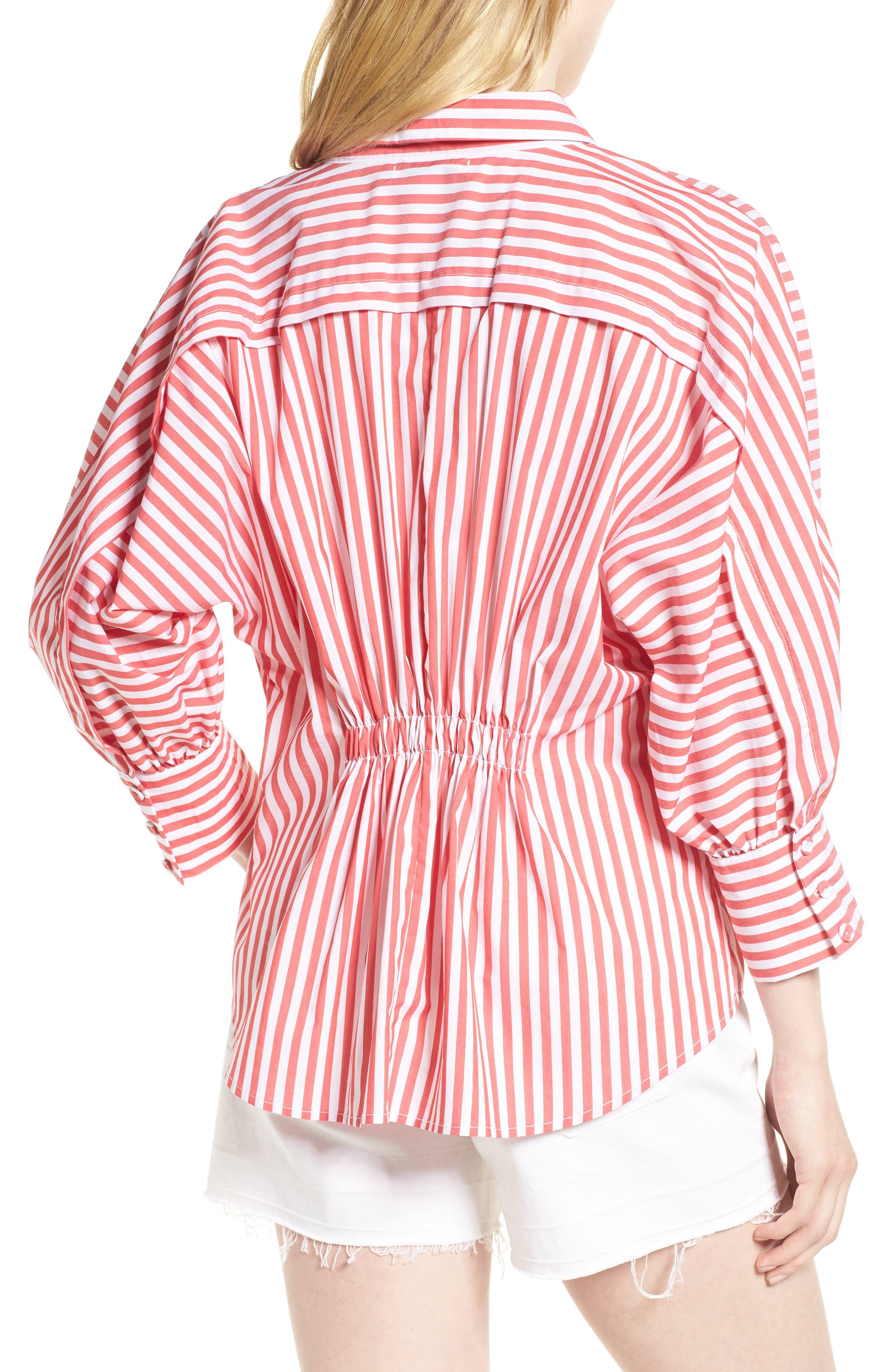 Asymmetrical Stripe Blouse,                             Alternate thumbnail 2, color,                             RED/ WHITE STRIPE
