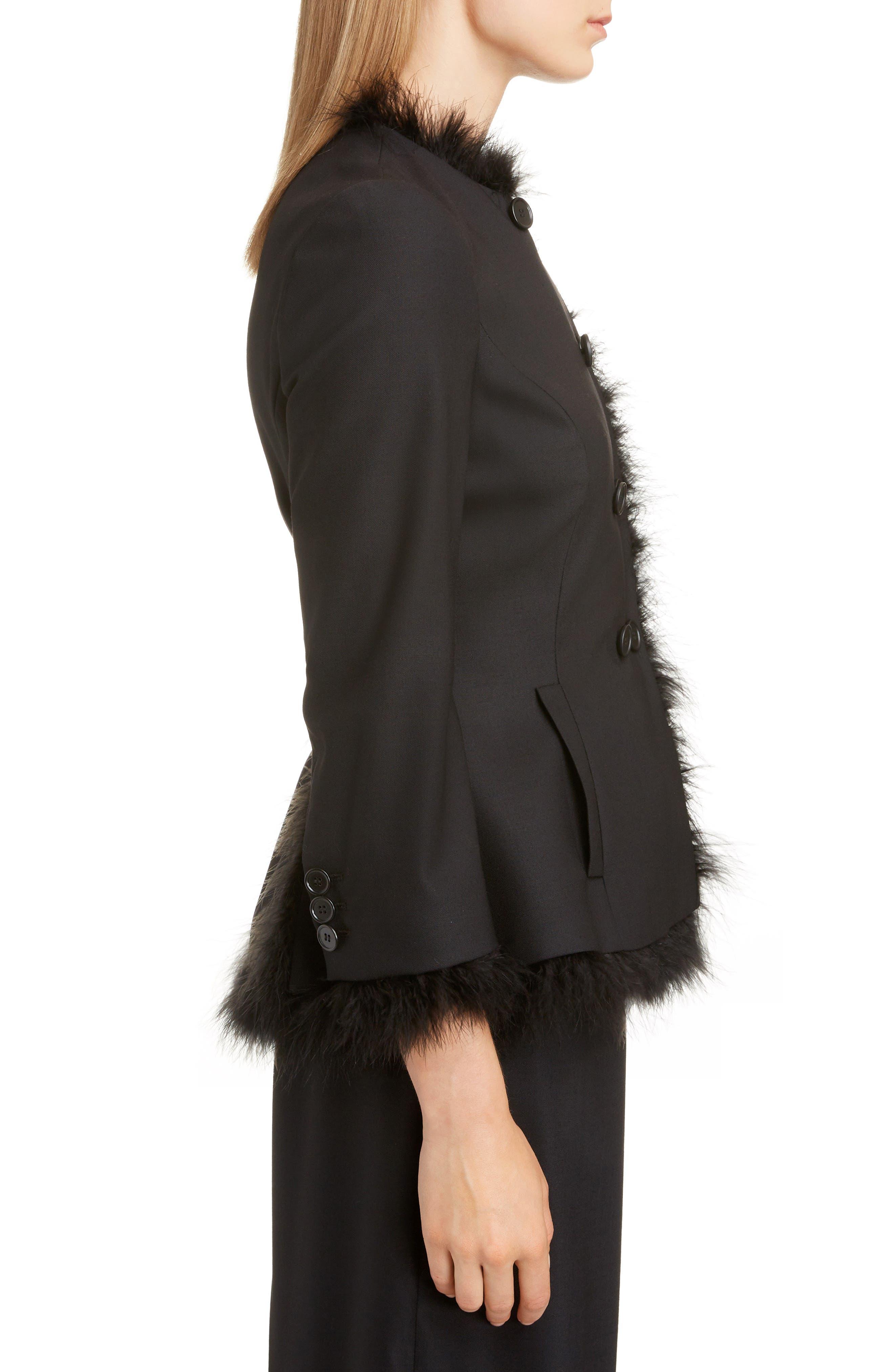 SIMONE ROCHA,                             Marabou Trim Double Breasted Stretch Wool Jacket,                             Alternate thumbnail 3, color,                             BLACK