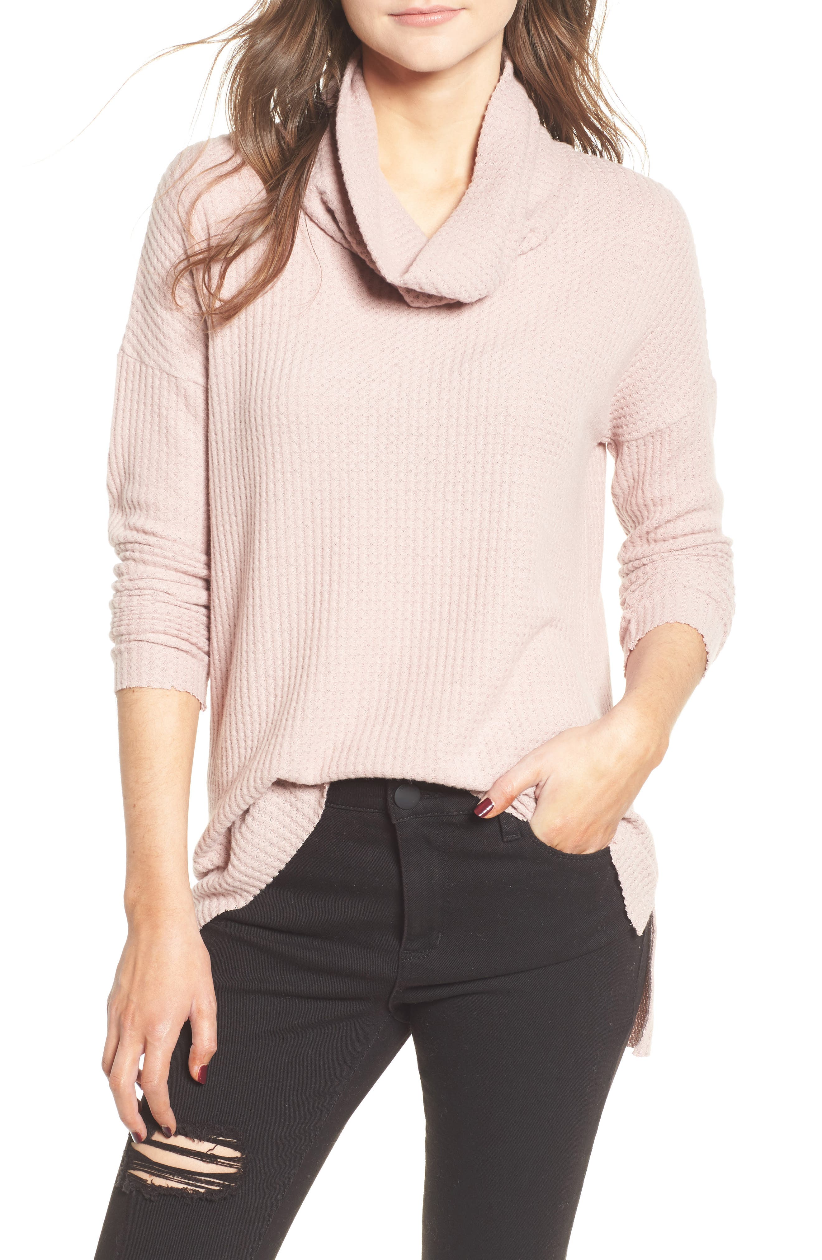 Funnel Neck Tunic, Main, color, PINK ADOBE