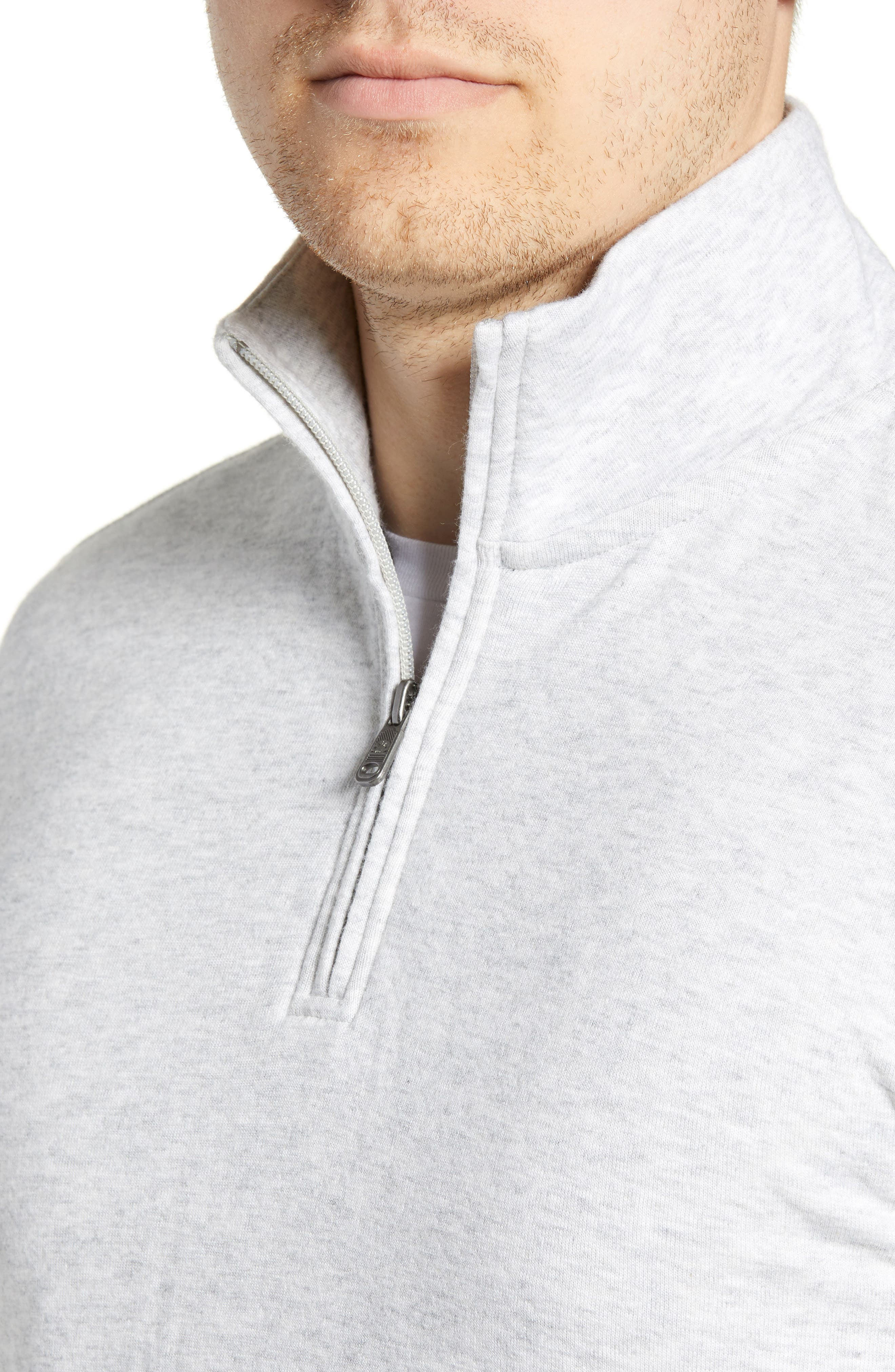 Brand Dual Knit Regular Fit Quarter Zip Pullover,                             Alternate thumbnail 4, color,                             ATHLETIC GREY