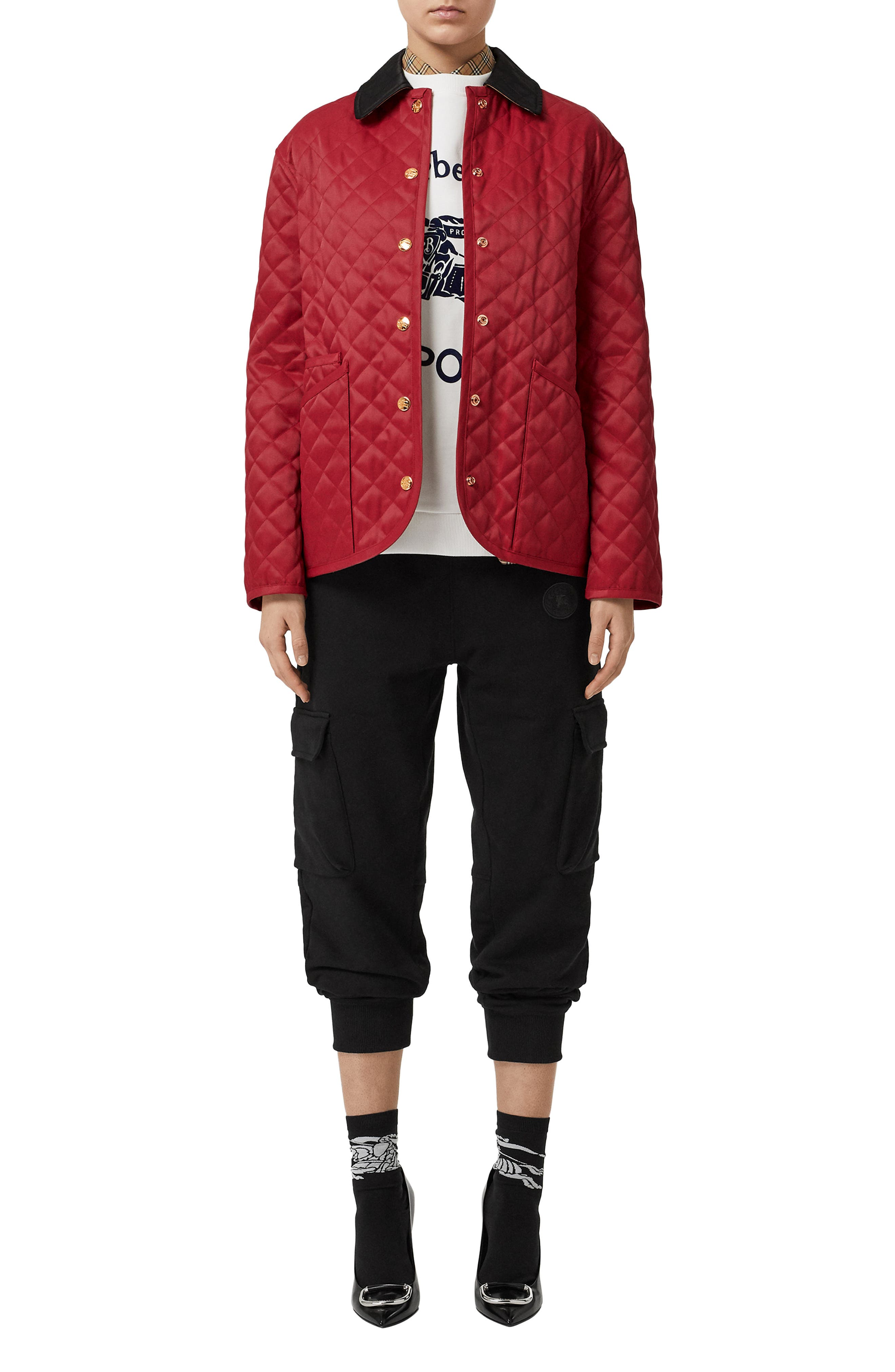 BURBERRY,                             Dranefeld Quilted Jacket,                             Alternate thumbnail 5, color,                             RED