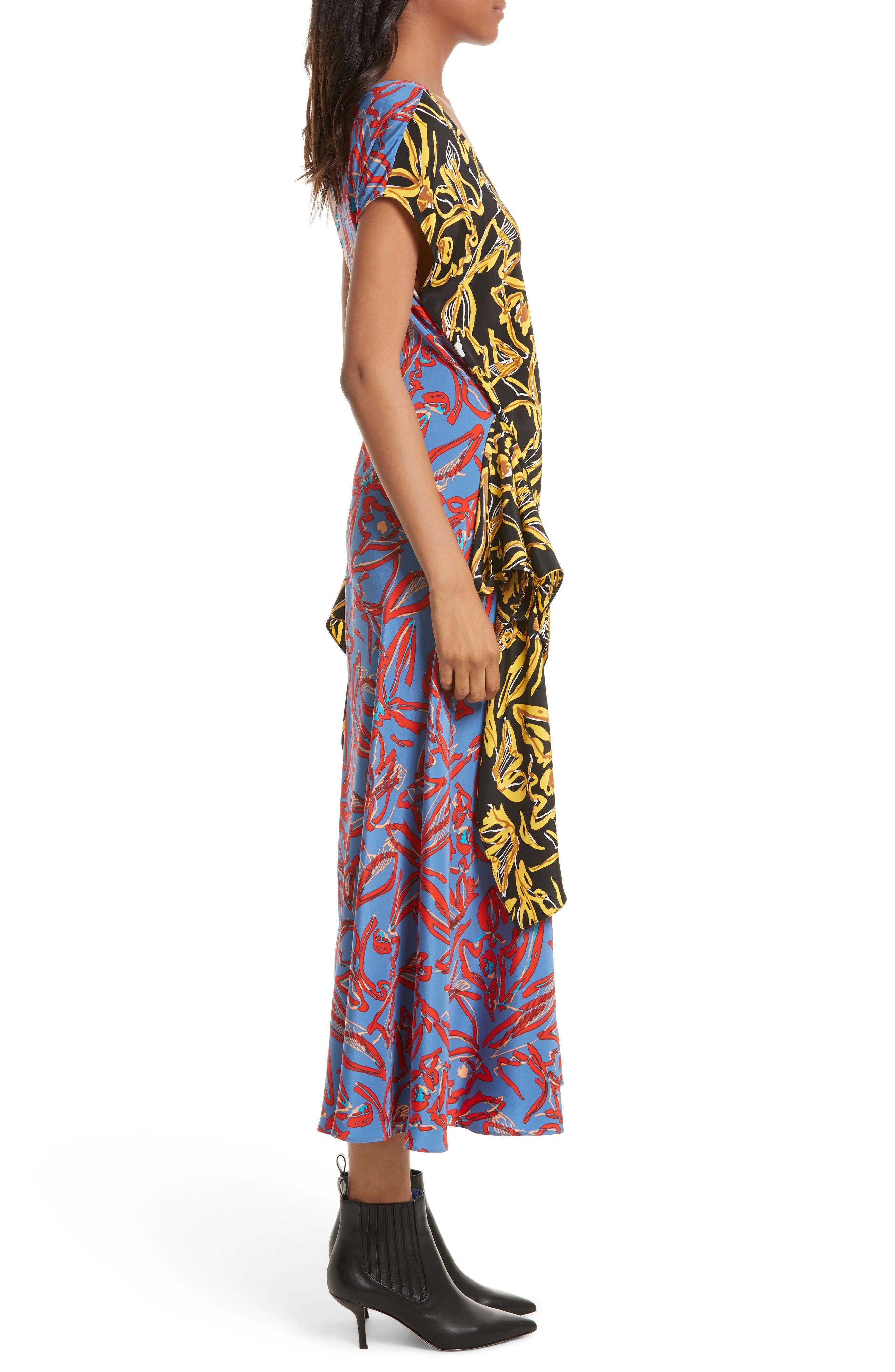 Asymmetrical Mixed Print Silk Maxi Dress,                             Alternate thumbnail 3, color,                             100