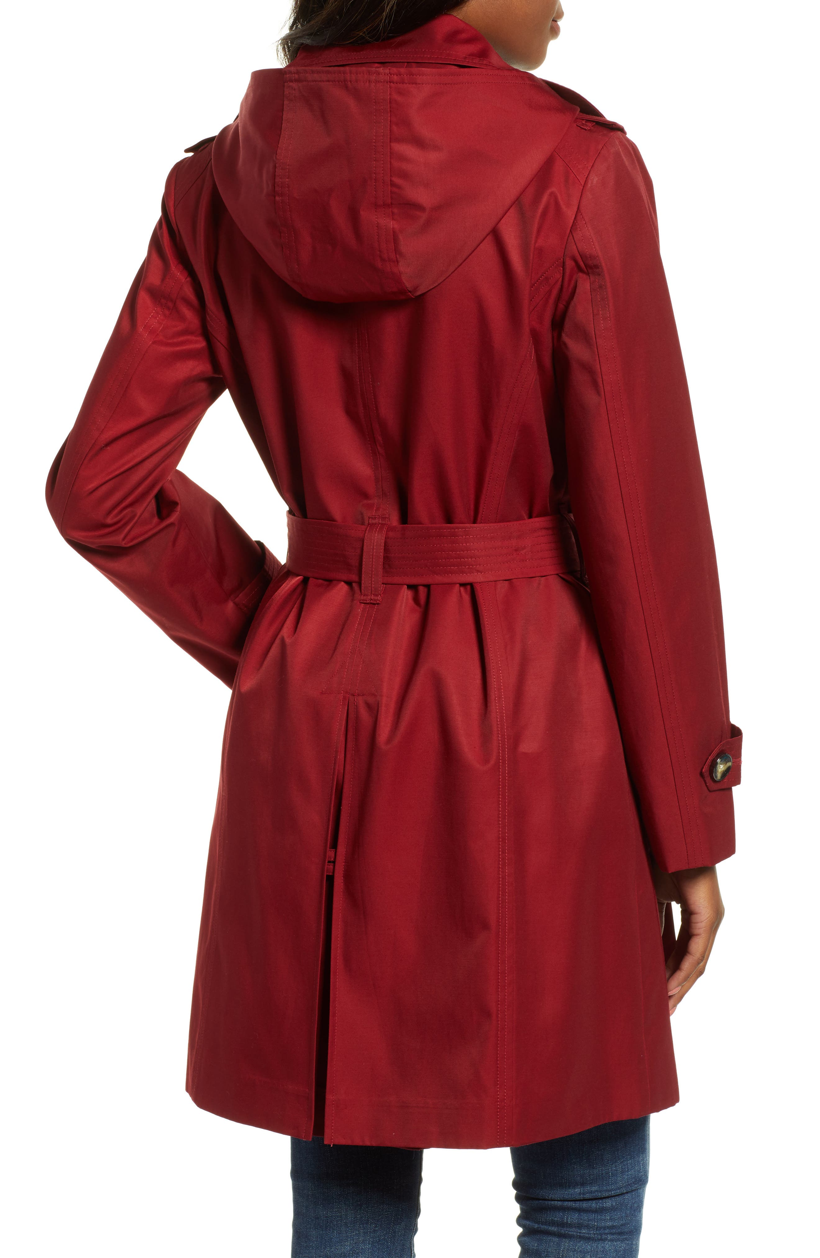 Double Breasted Trench Coat,                             Alternate thumbnail 2, color,                             RED