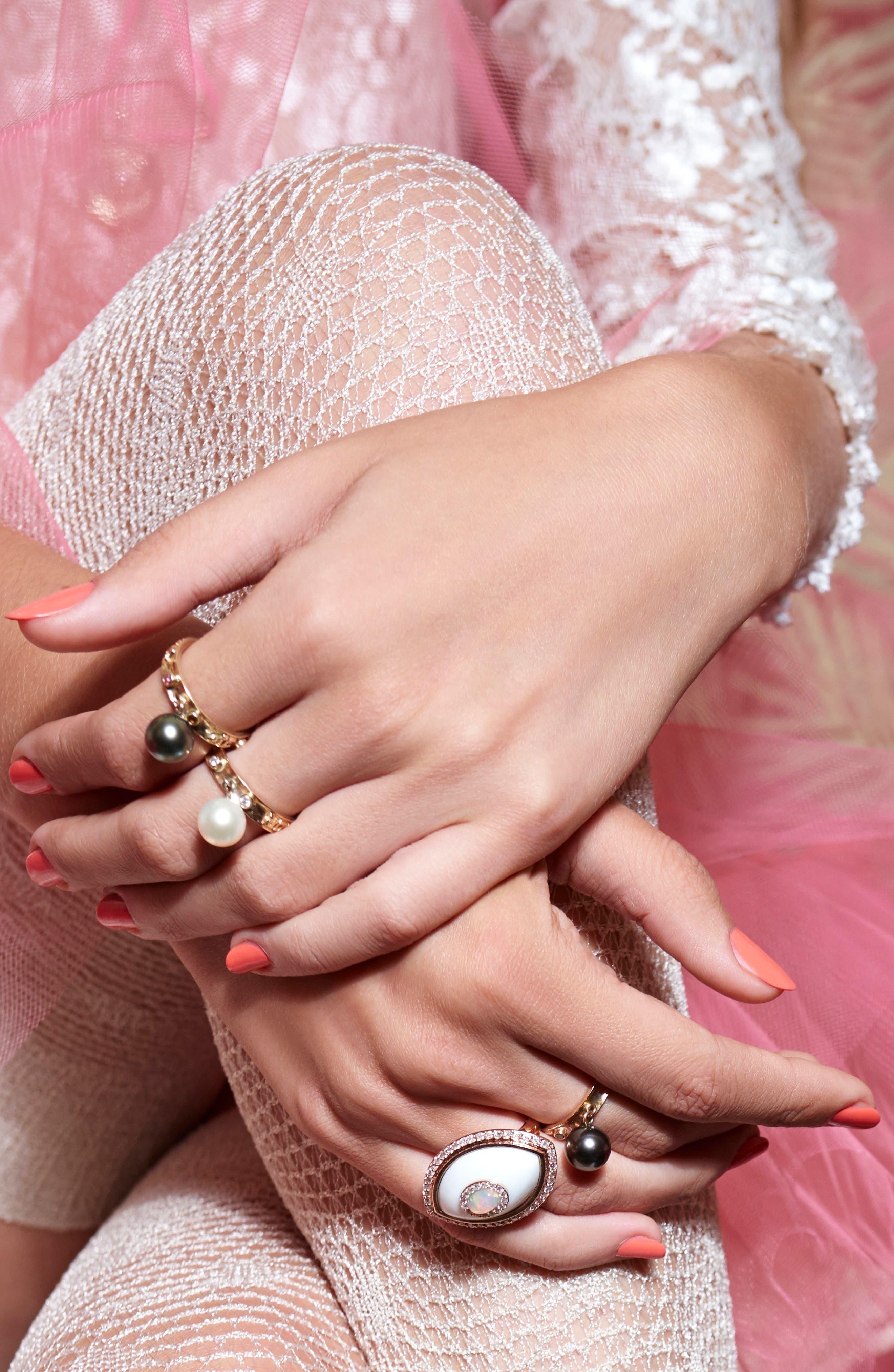 Dancing Pearl Ring,                             Alternate thumbnail 2, color,                             YELLOW GOLD