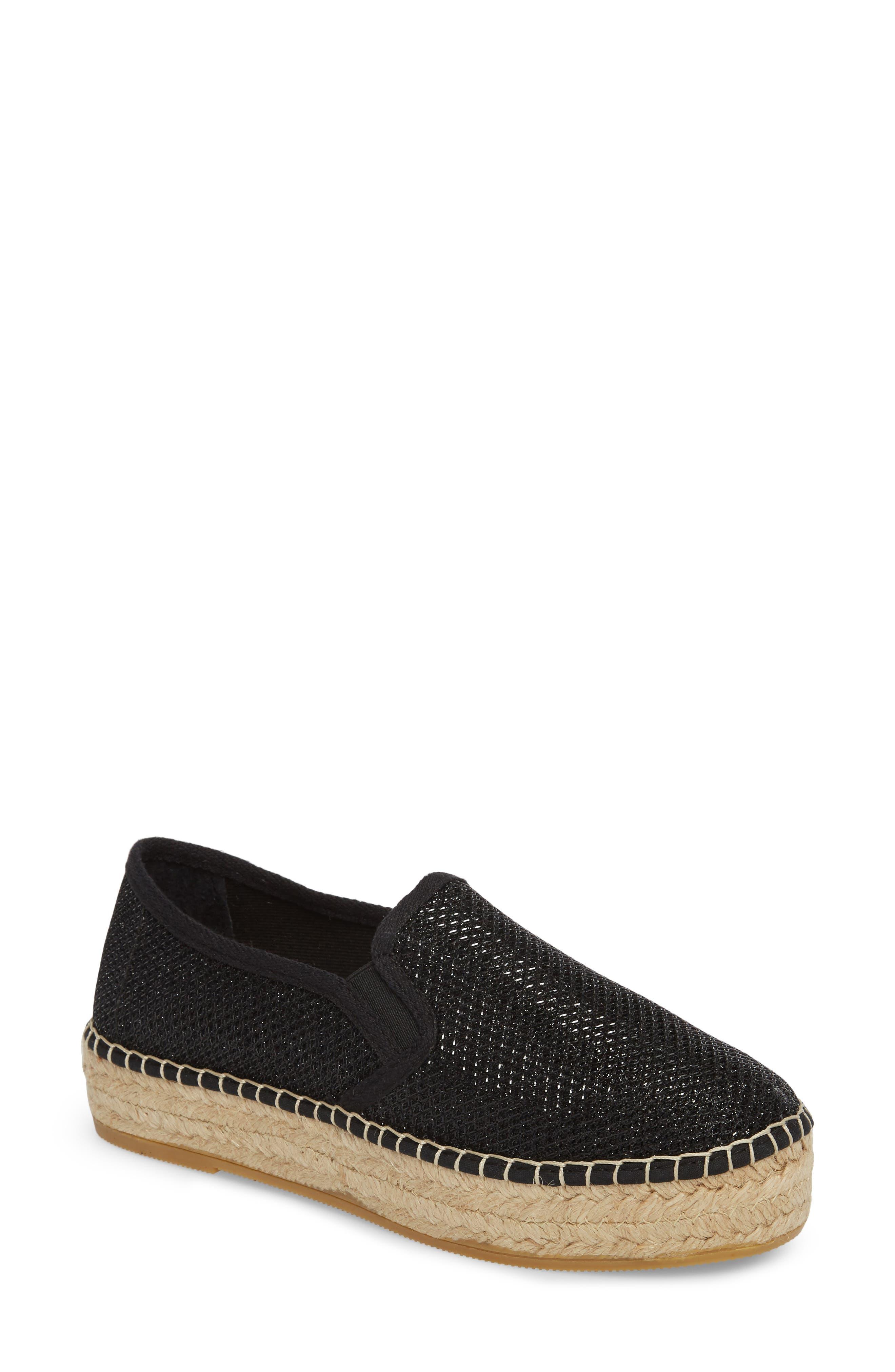 Fonda Platform Espadrille Sneaker,                         Main,                         color, BLACK FABRIC