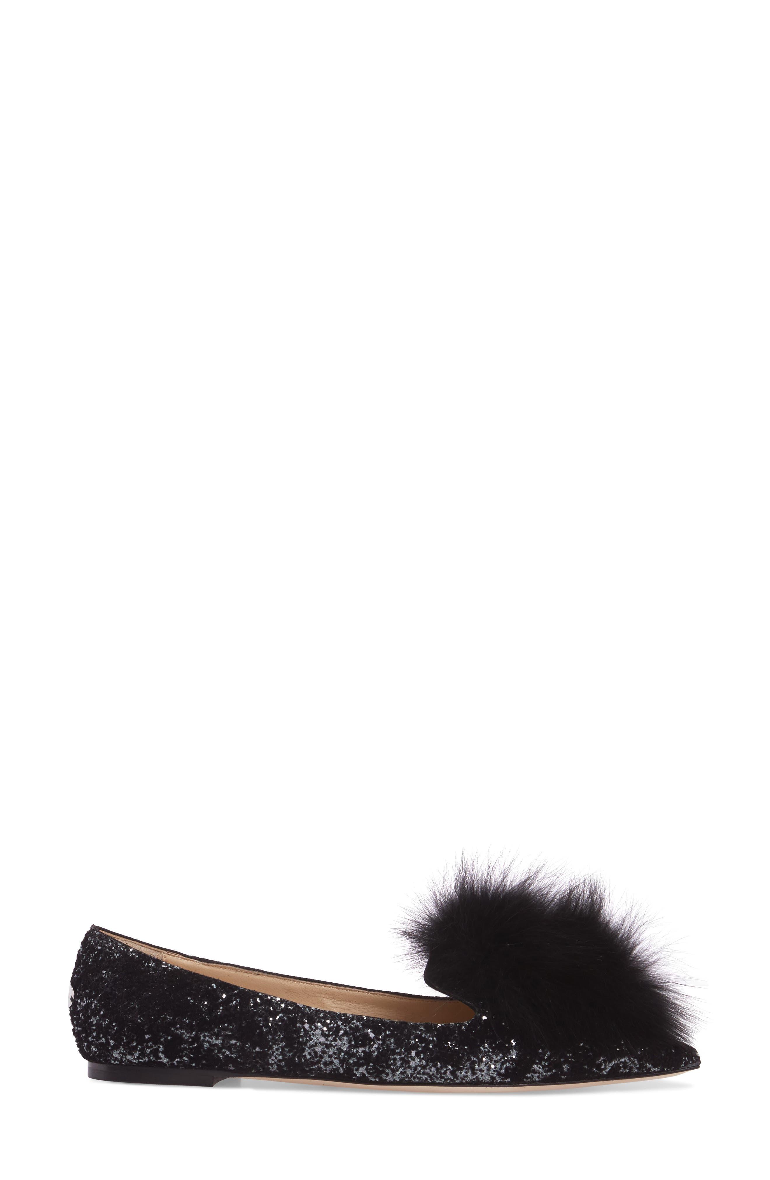 Gale Flat with Genuine Fox Fur Trim,                             Alternate thumbnail 3, color,                             002