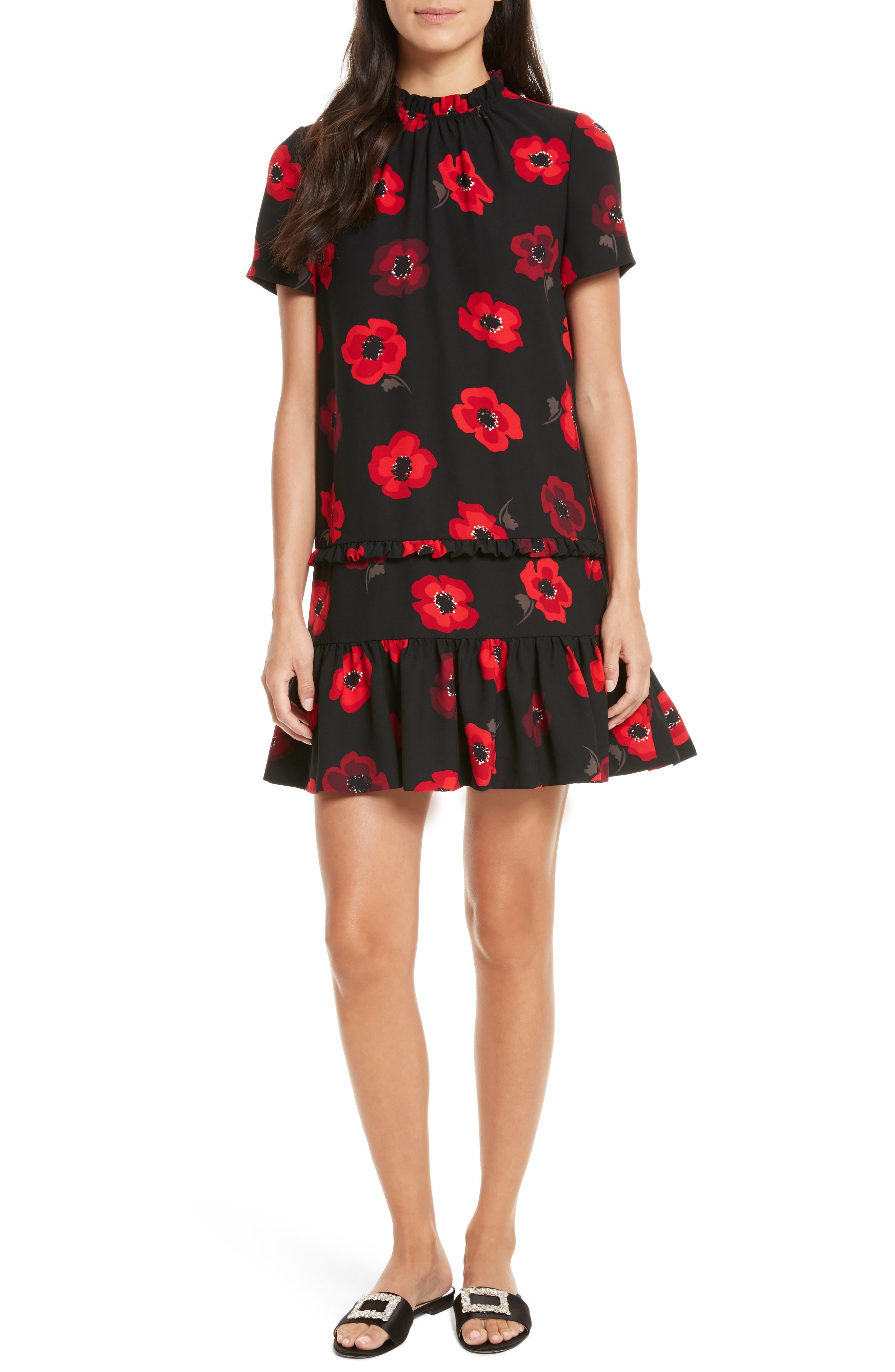 ruffle poppy shift dress,                             Main thumbnail 1, color,                             006