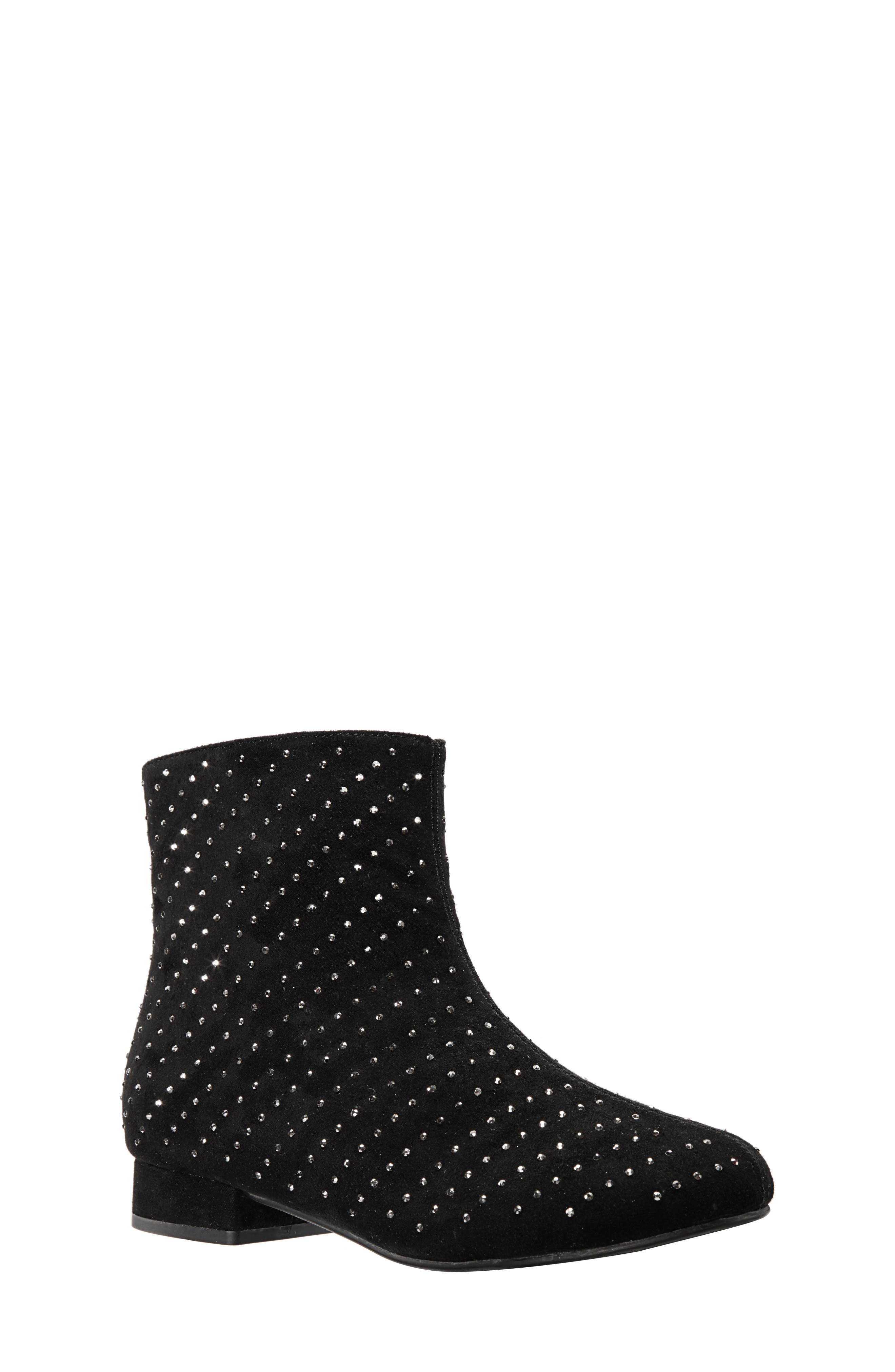 Peaches Studded Bootie,                             Main thumbnail 1, color,                             BLACK MICRO SUEDE