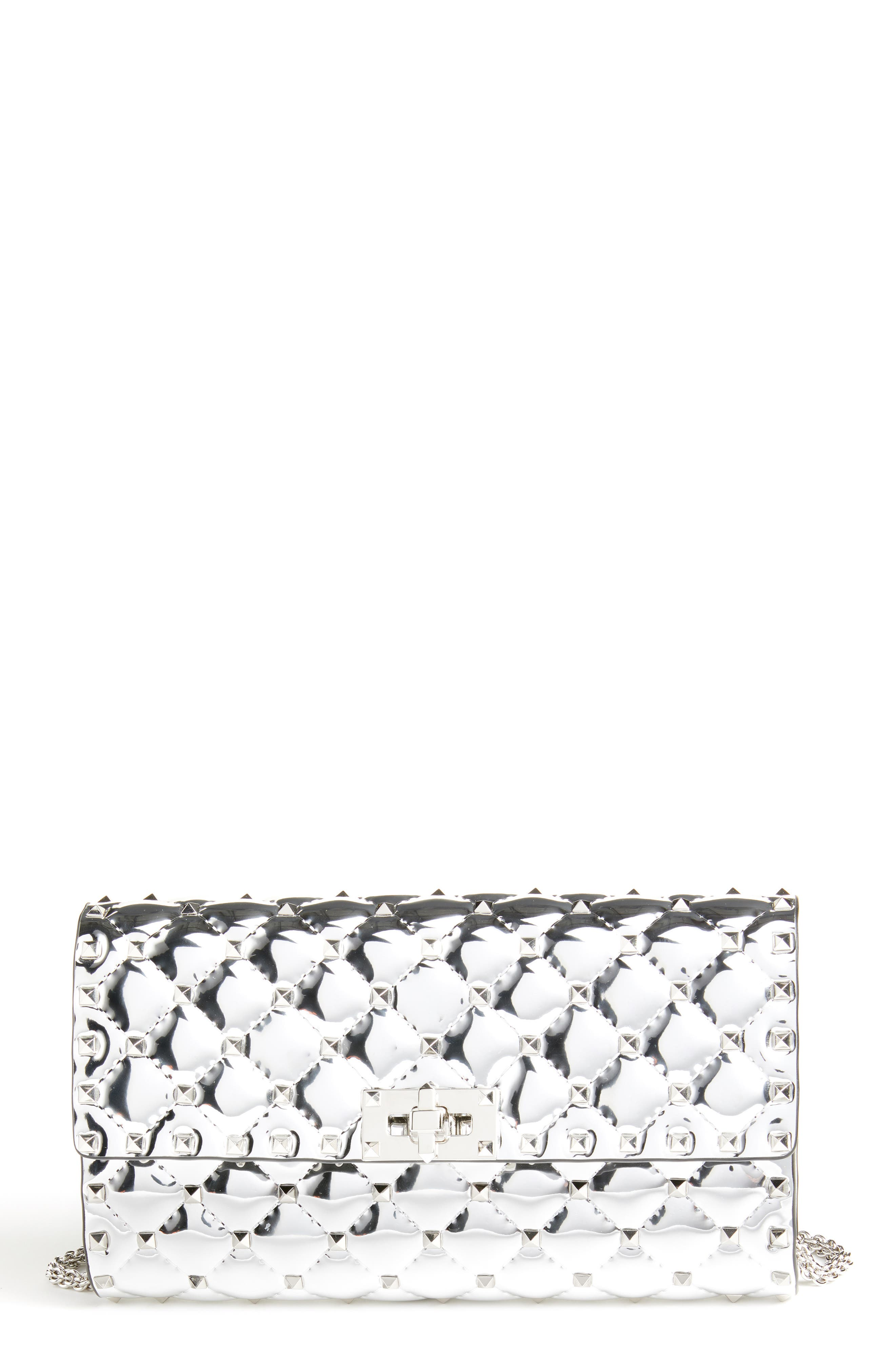 Specchio Rockstud Spike Quilted Leather Clutch,                         Main,                         color, 040