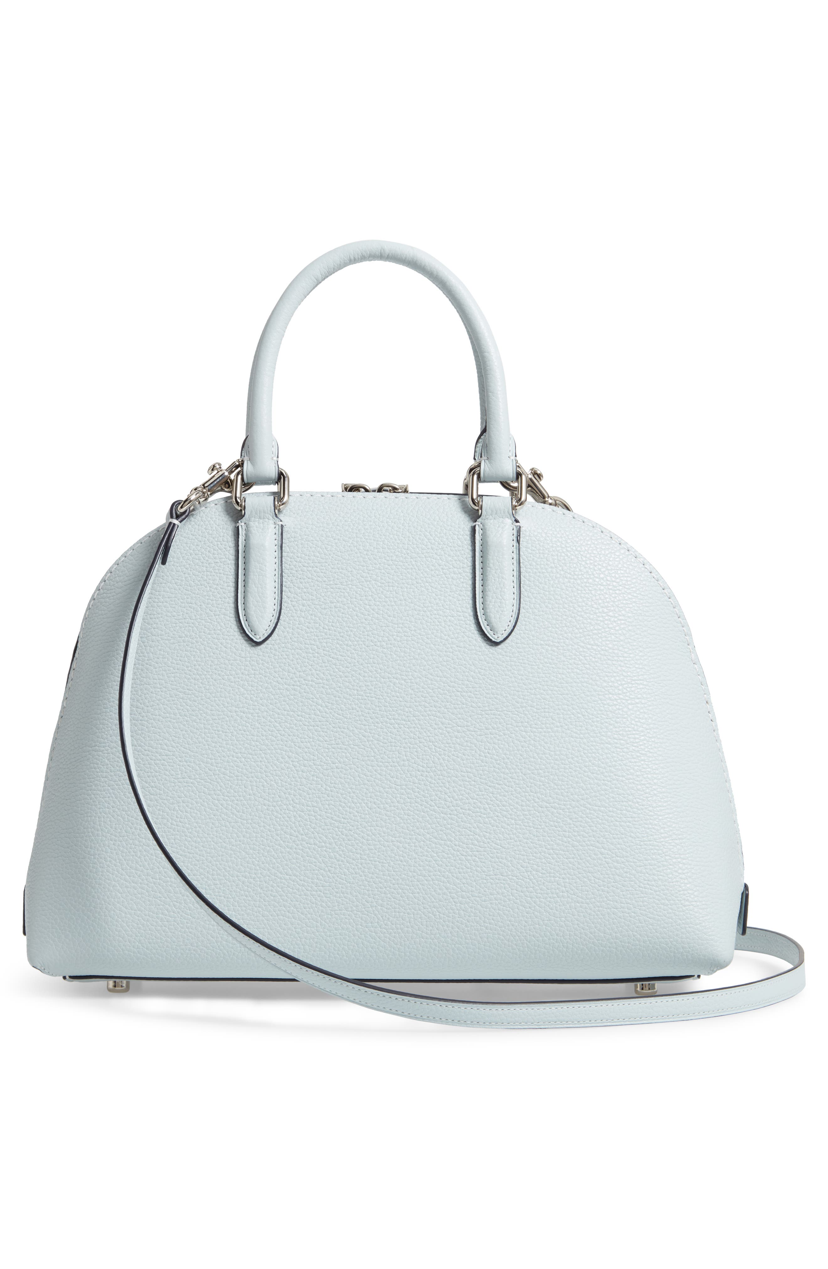 Quinn Leather Dome Satchel,                             Alternate thumbnail 3, color,                             SKY