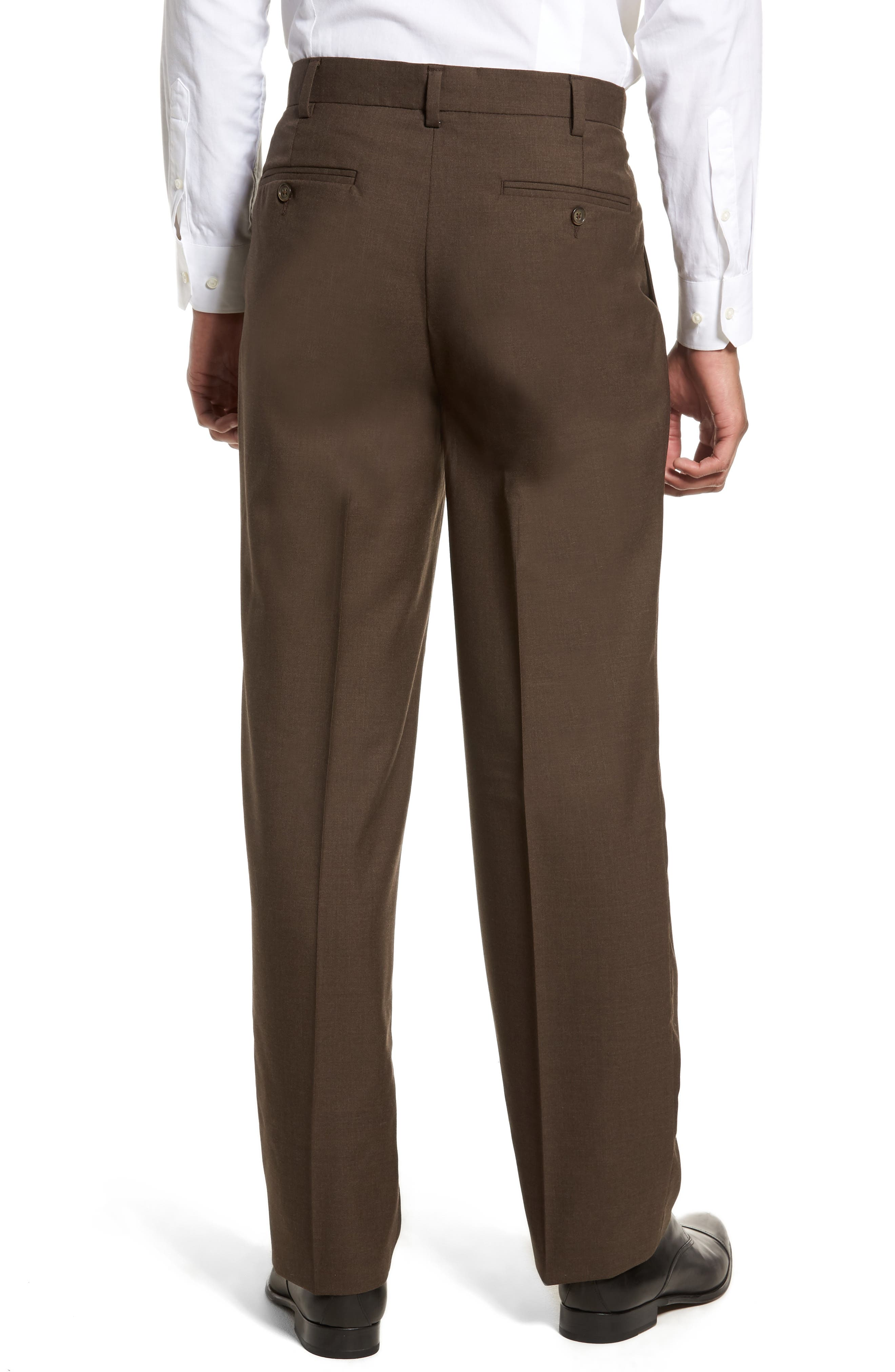 Self Sizer Waist Pleated Wool Gabardine Trousers,                             Alternate thumbnail 2, color,                             BROWN