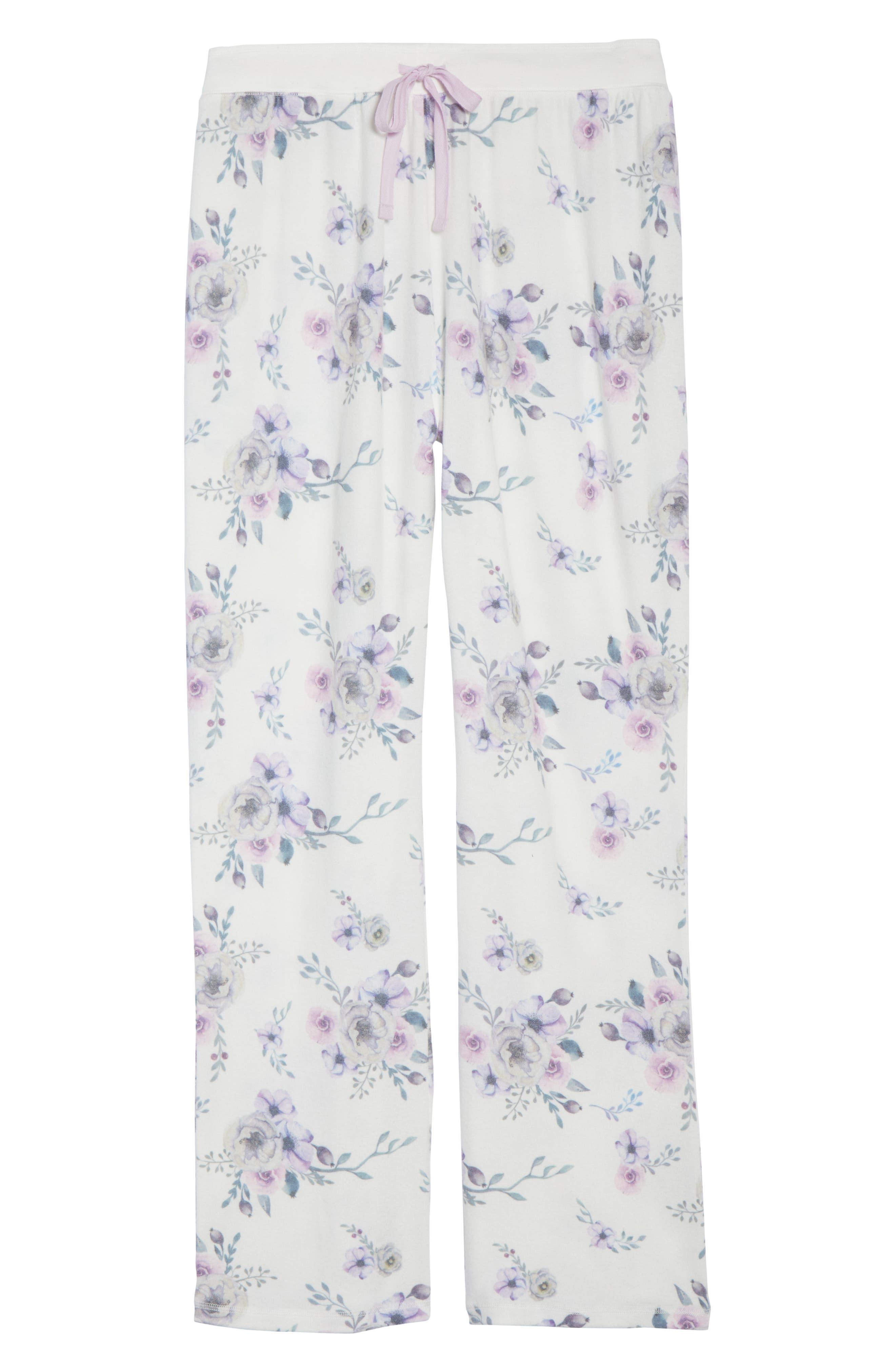 Floral Lounge Pants,                             Alternate thumbnail 6, color,                             NATURAL