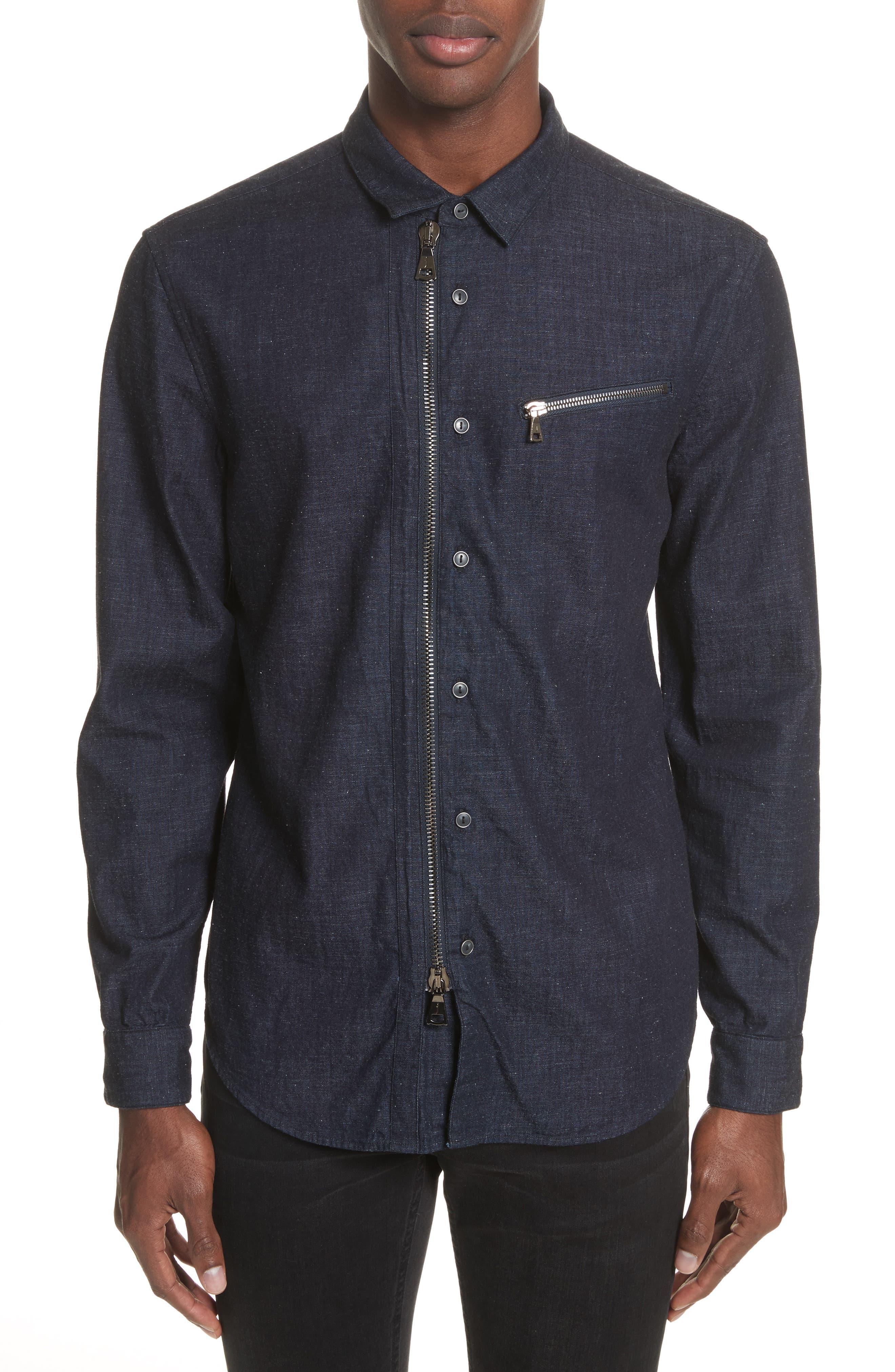 Cotton Blend Zip Shirt,                         Main,                         color, 410