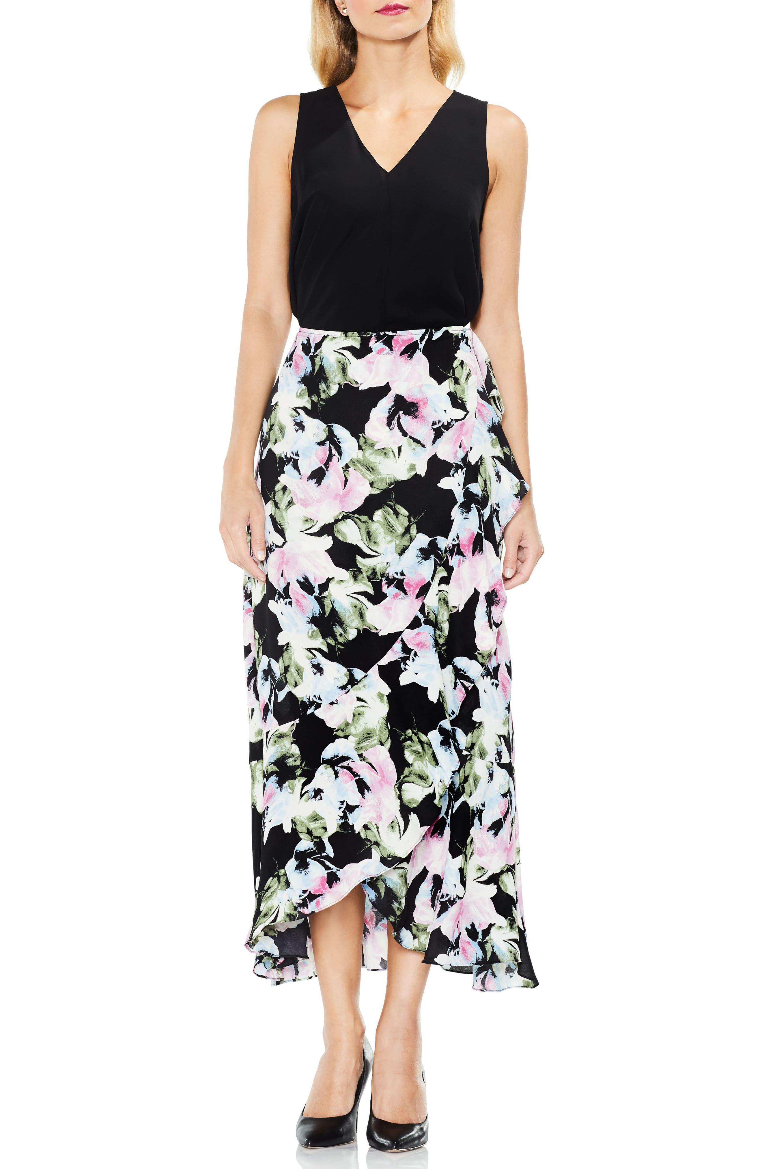 Glacier Floral Ruffle Skirt,                         Main,                         color, 010