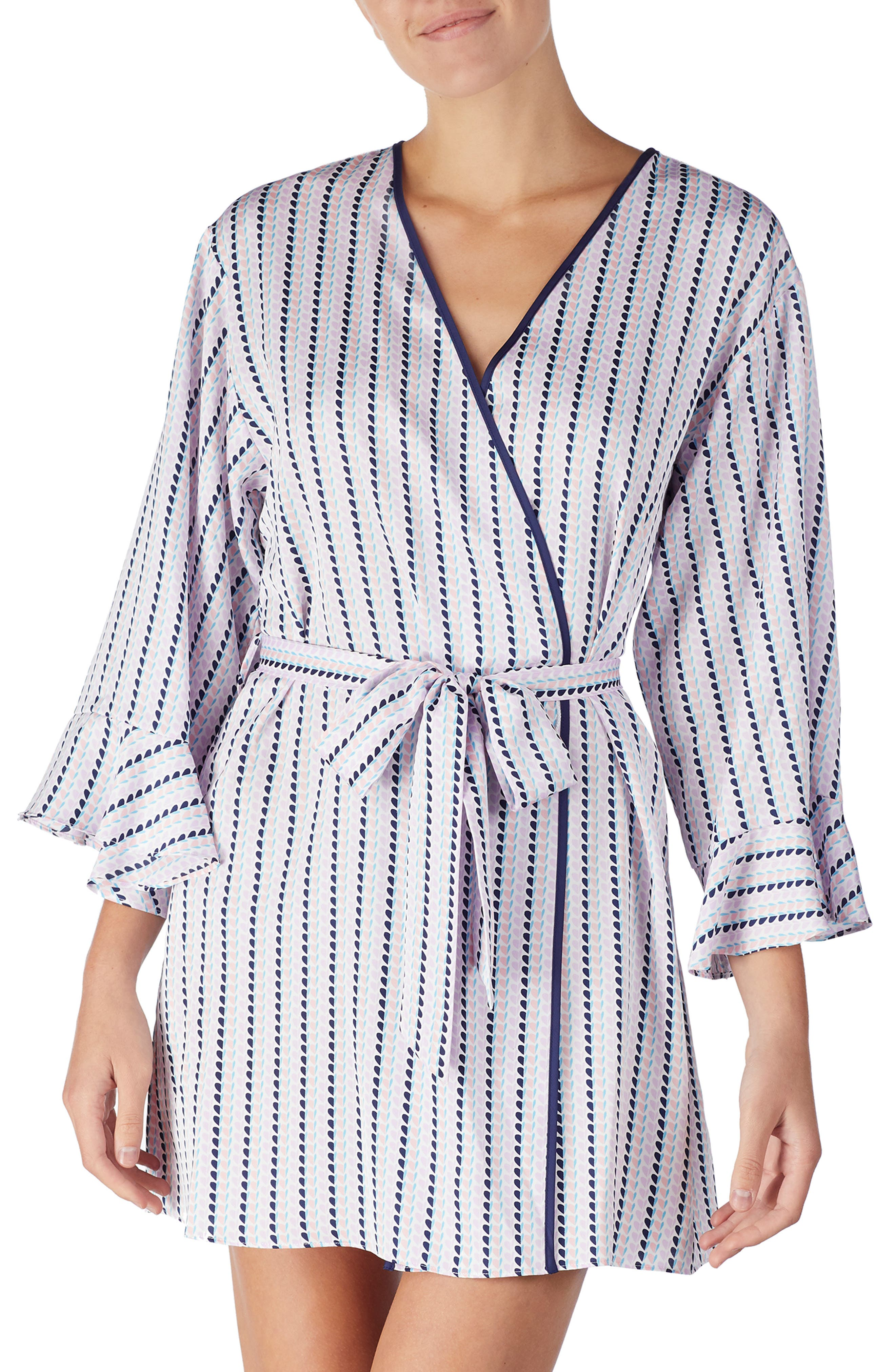 Striped Heart Charmeuse Short Robe