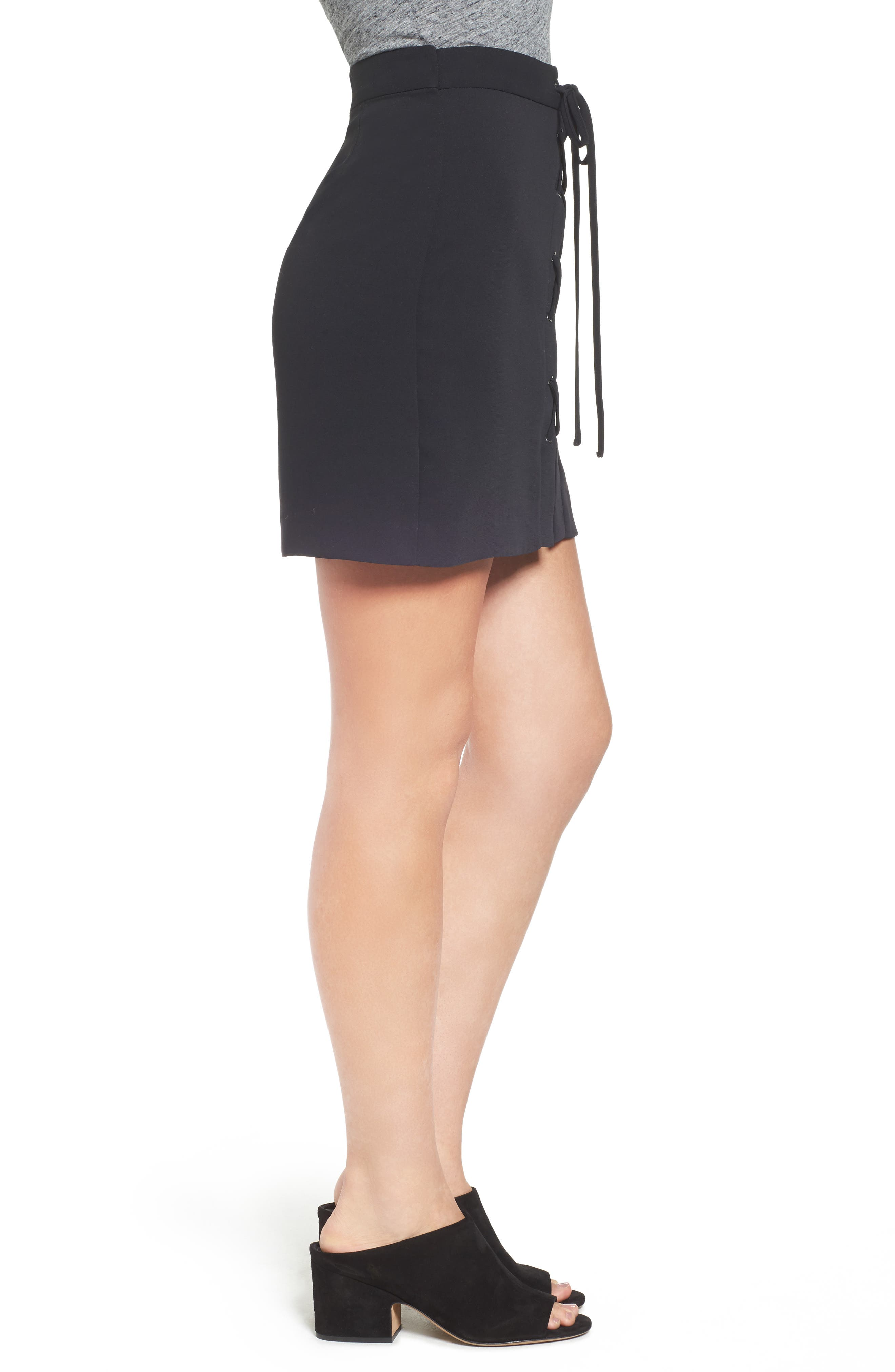 MADEWELL,                             Lace-Up Skirt,                             Alternate thumbnail 3, color,                             001