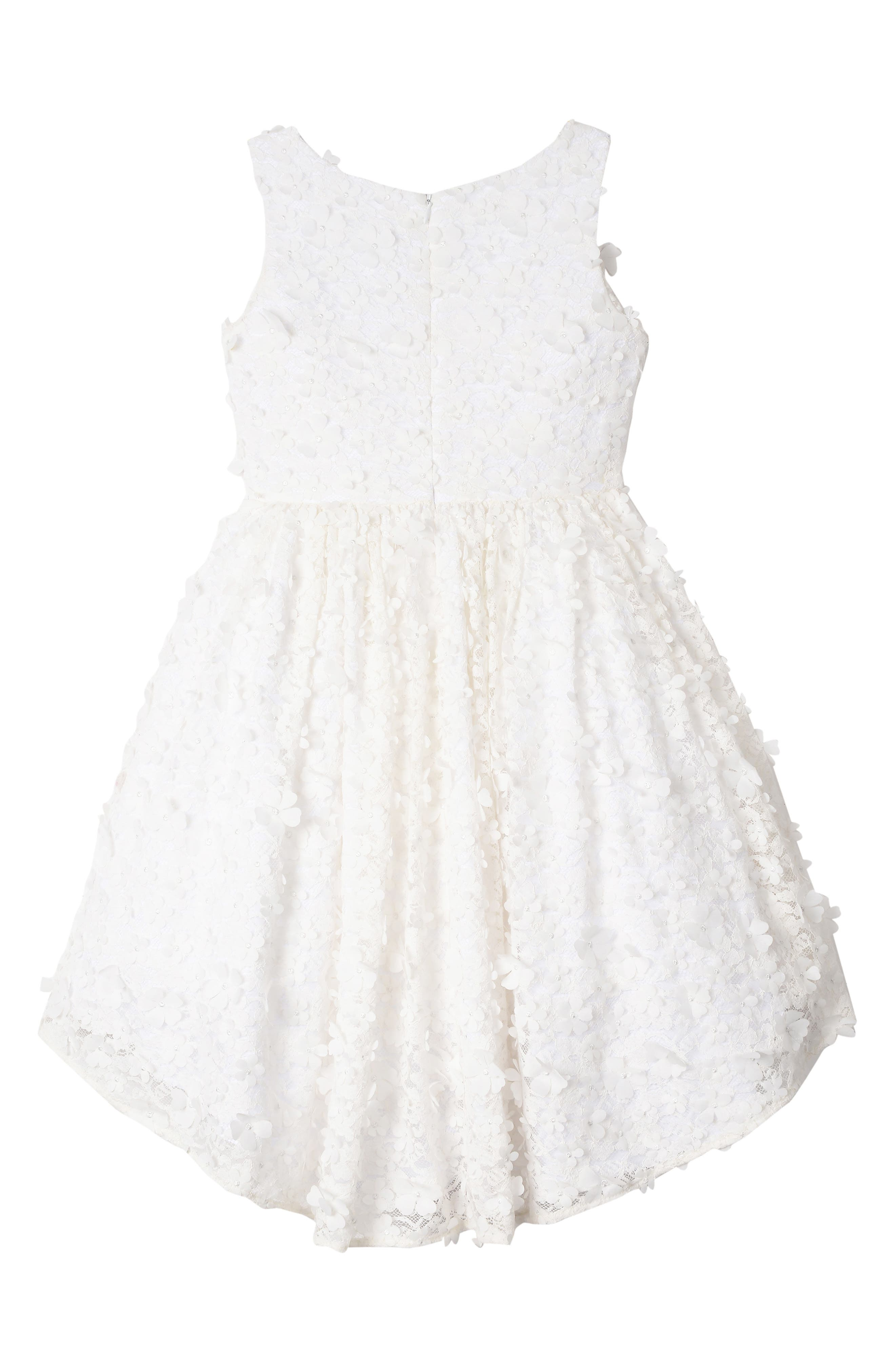 BADGLEY MISCHKA COLLECTION,                             Badgley Mischka 3D Flower High/Low Lace Dress,                             Alternate thumbnail 2, color,                             WHITE