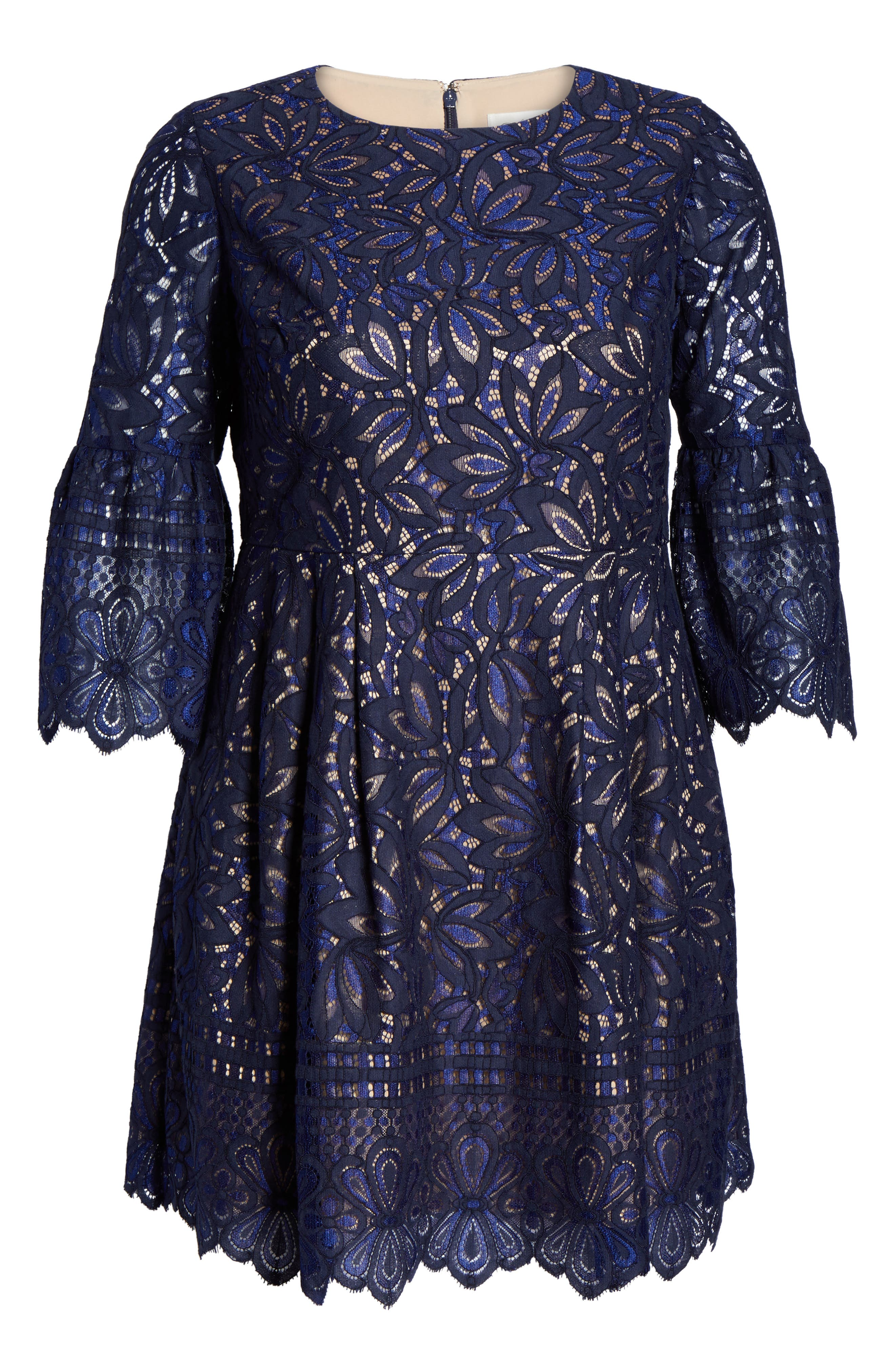 Lace Bell Sleeve Fit & Flare Dress,                             Alternate thumbnail 6, color,