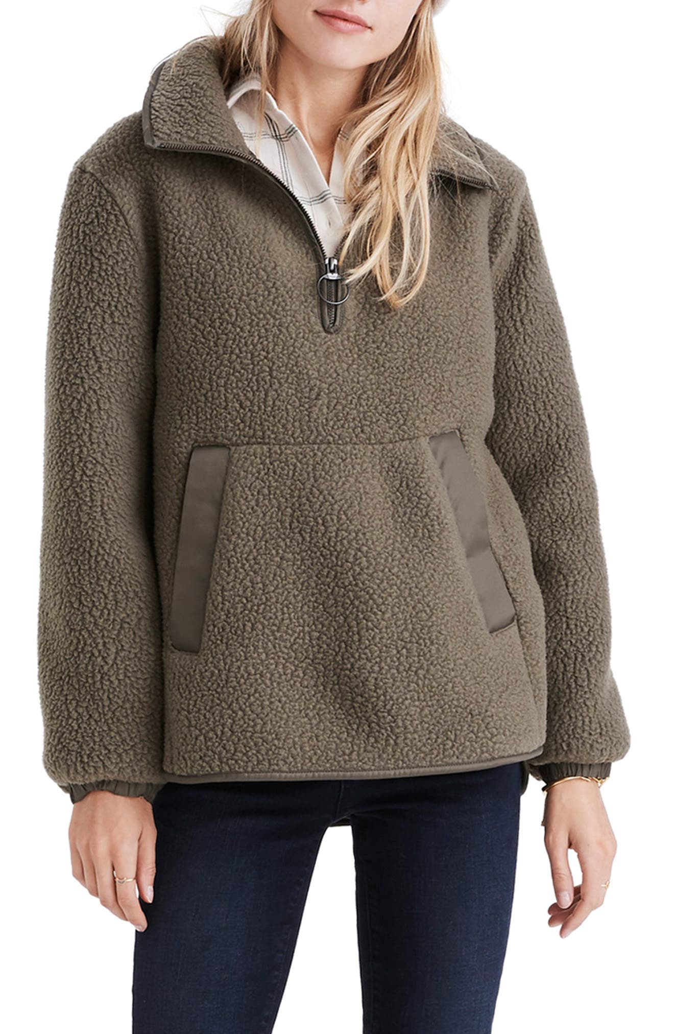 Madewell Polartec Fleece Popover Jacket, Green