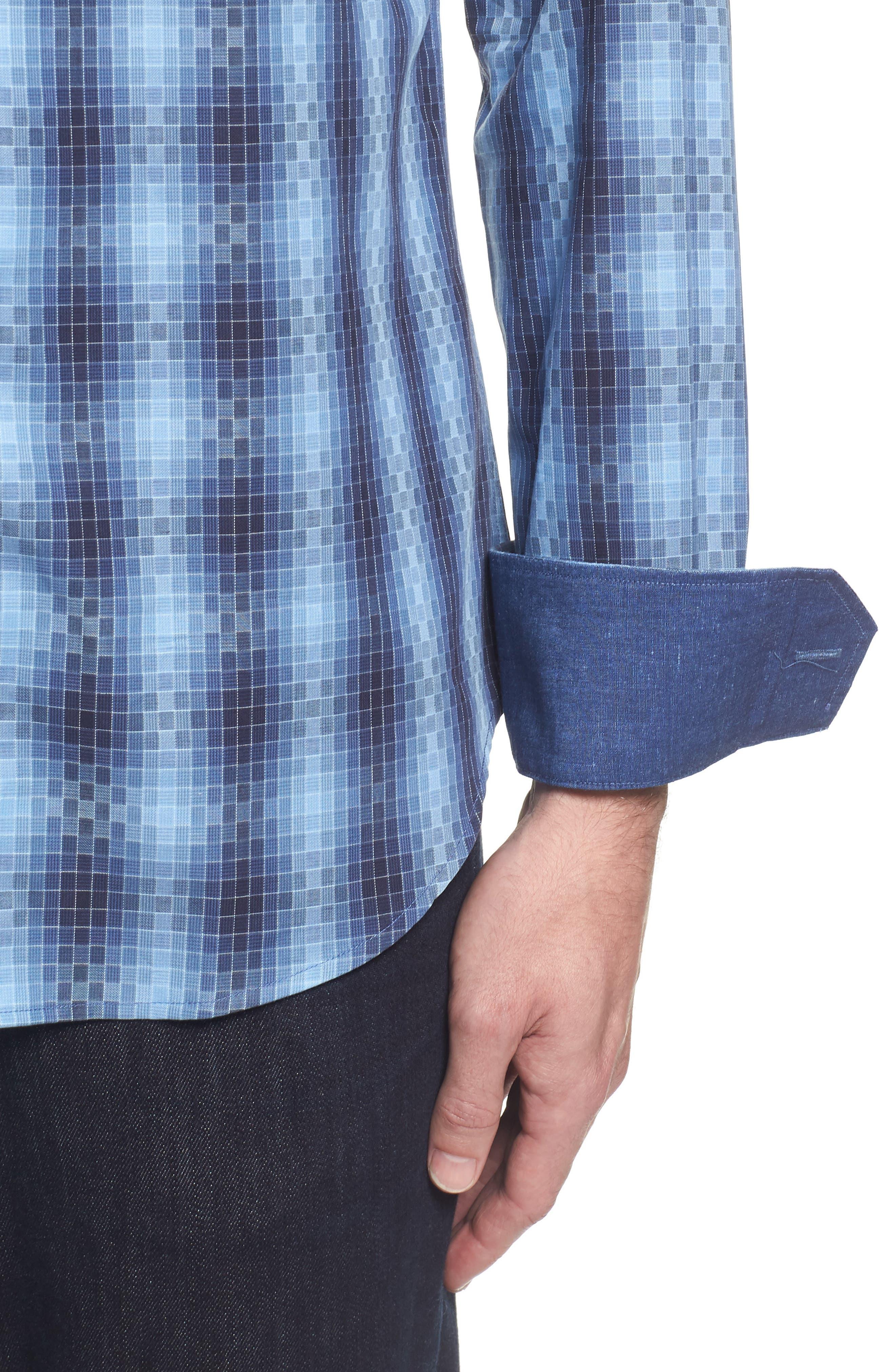 Slim Fit Gradient Check Sport Shirt,                             Alternate thumbnail 4, color,                             412