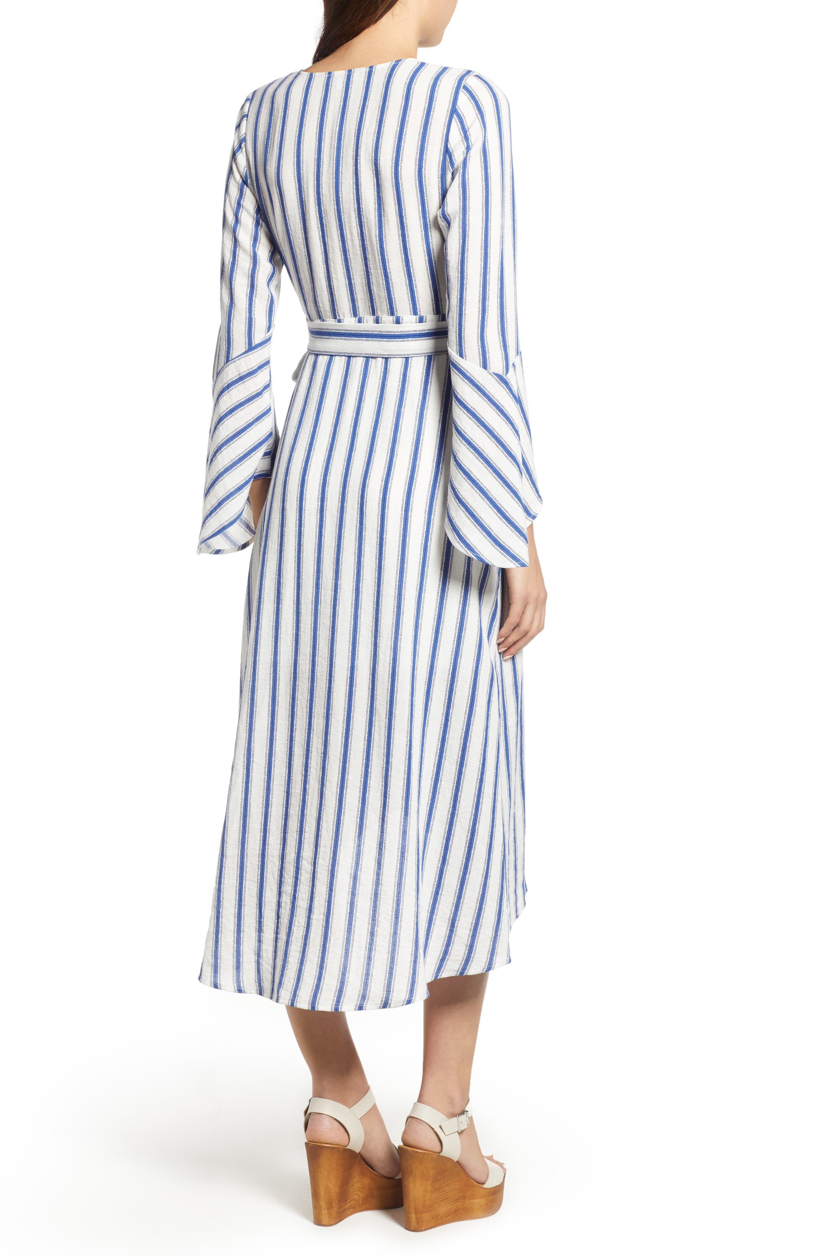 Stripe Flared Sleeve Wrap Dress,                             Alternate thumbnail 2, color,                             400