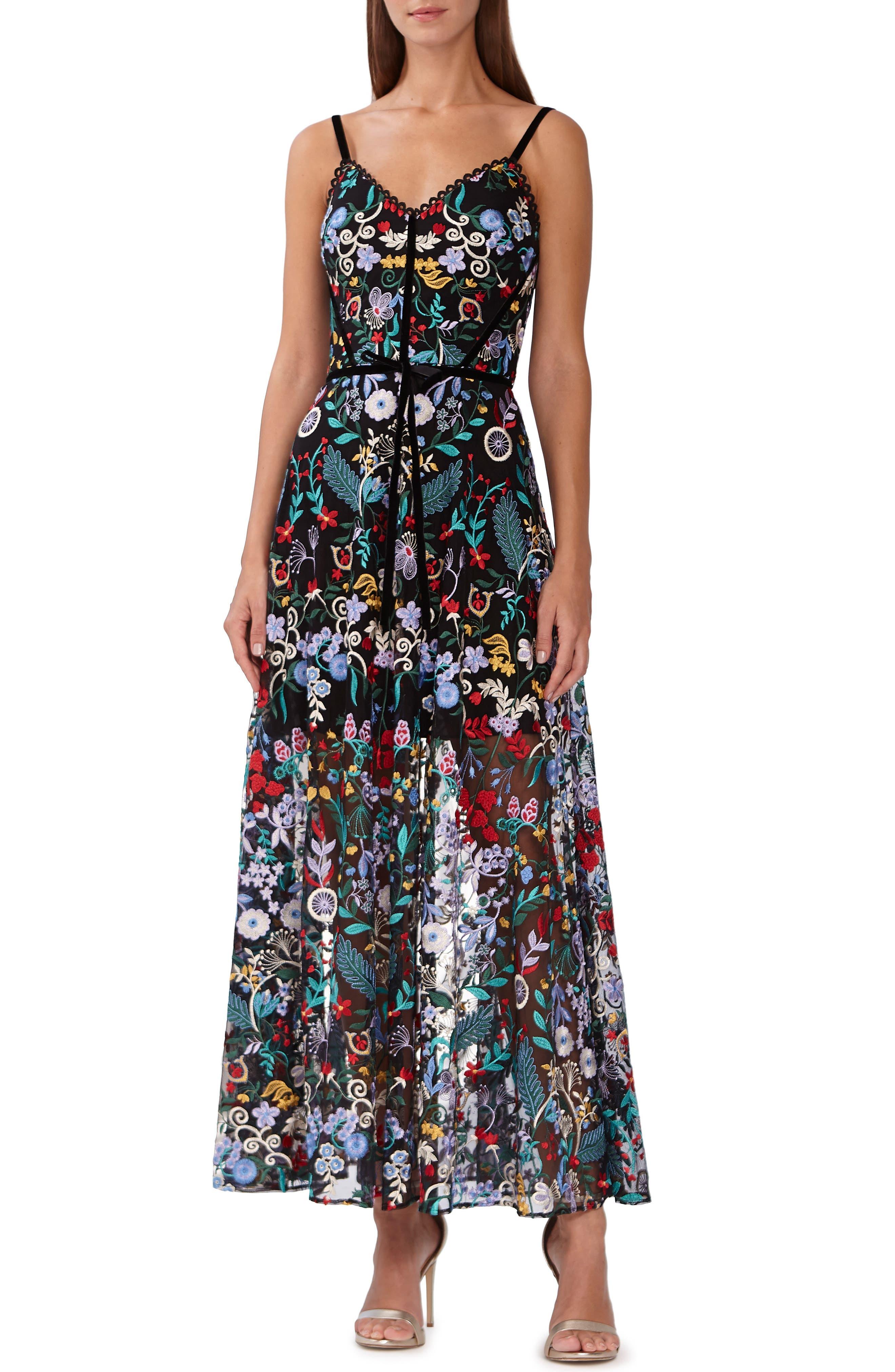 ML MONIQUE LHUILLIER ML Monique Lhuilier Floral Embroidered Mesh Dress, Main, color, JET MULTI