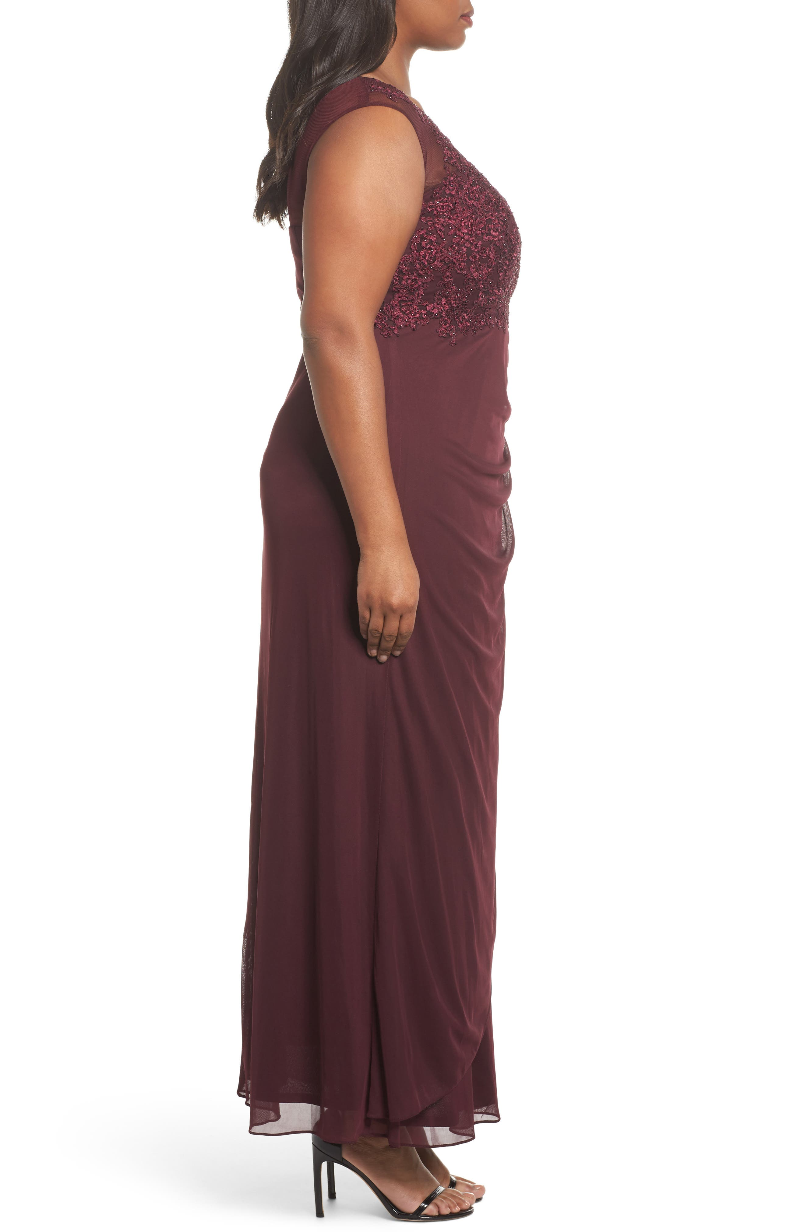 Embellished Ruched Jersey Gown,                             Alternate thumbnail 3, color,                             935