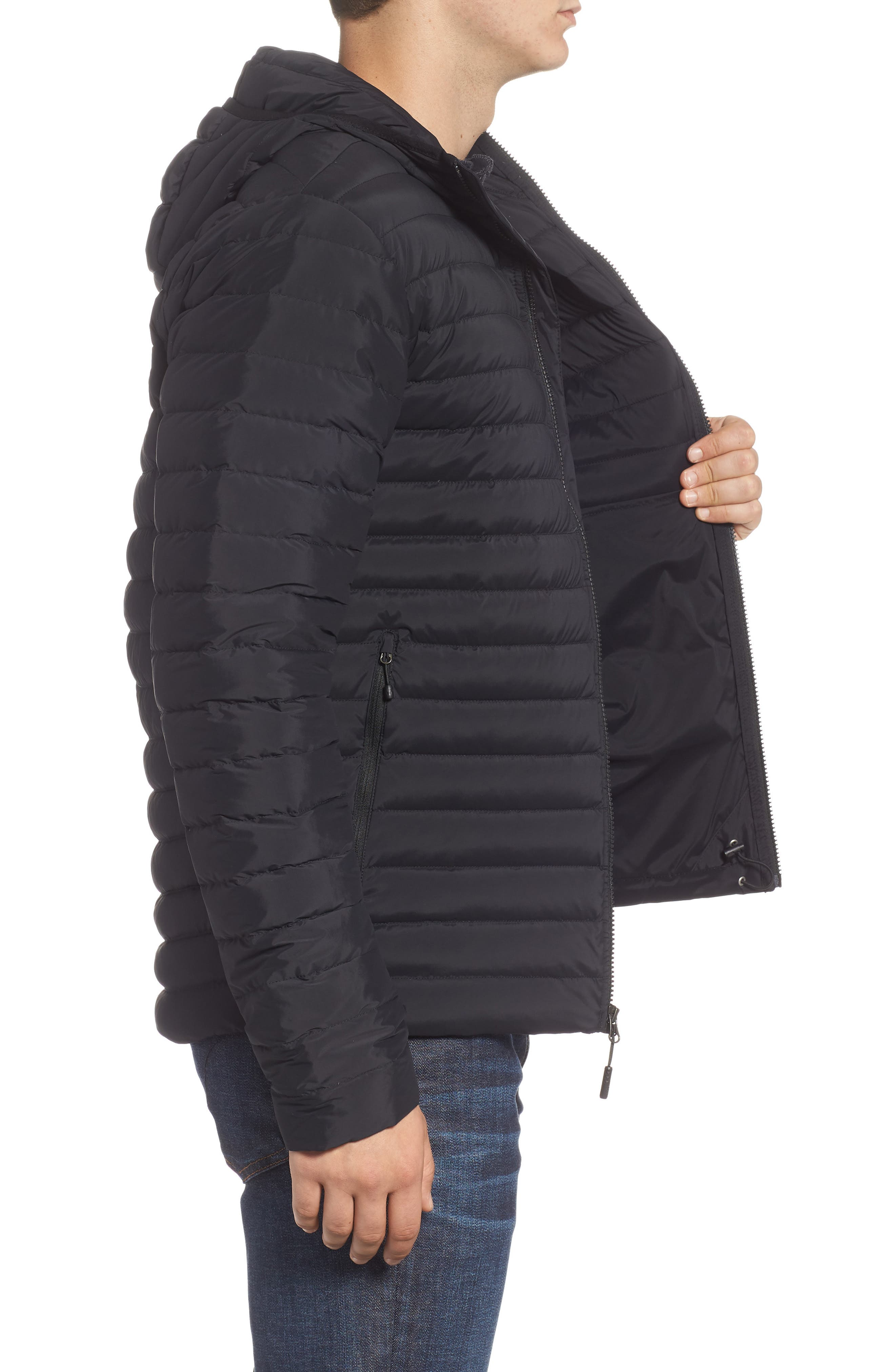 Packable Stretch Down Hooded Jacket,                             Alternate thumbnail 3, color,                             TNF BLACK/ TNF BLACK
