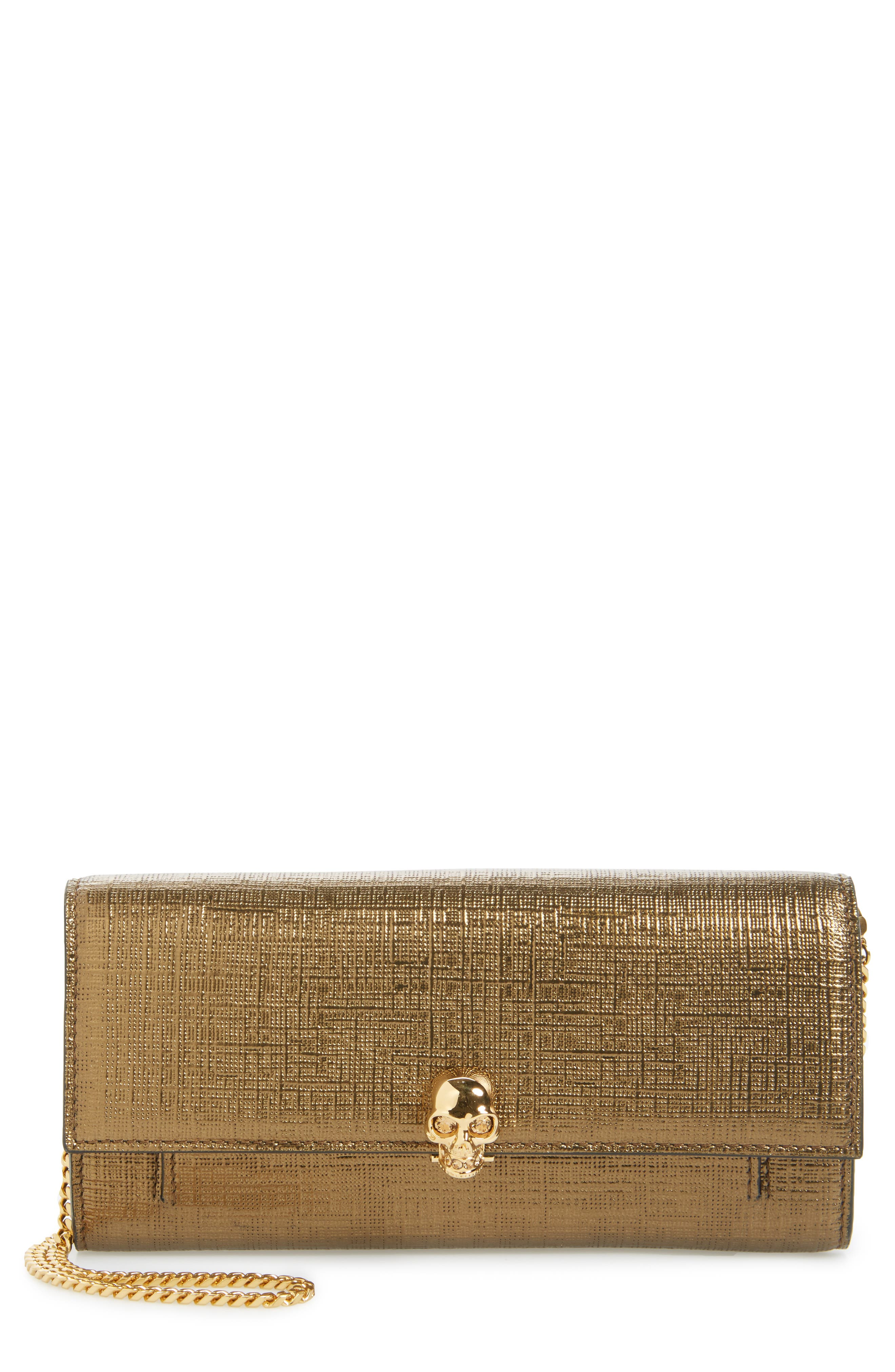 Calfskin Leather Wallet on a Chain,                             Main thumbnail 1, color,