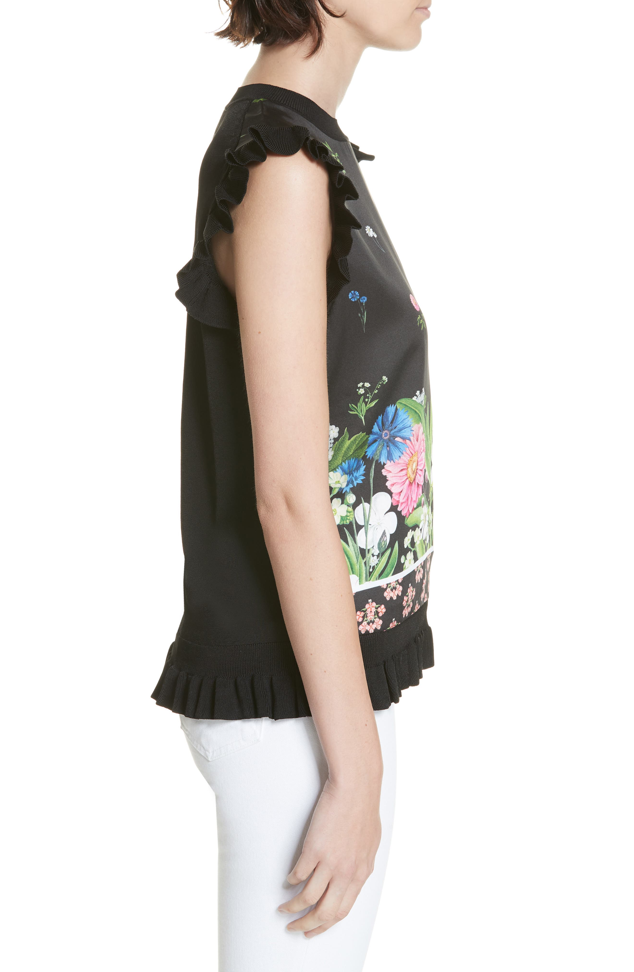 Florence Sleeveless Top,                             Alternate thumbnail 3, color,                             001