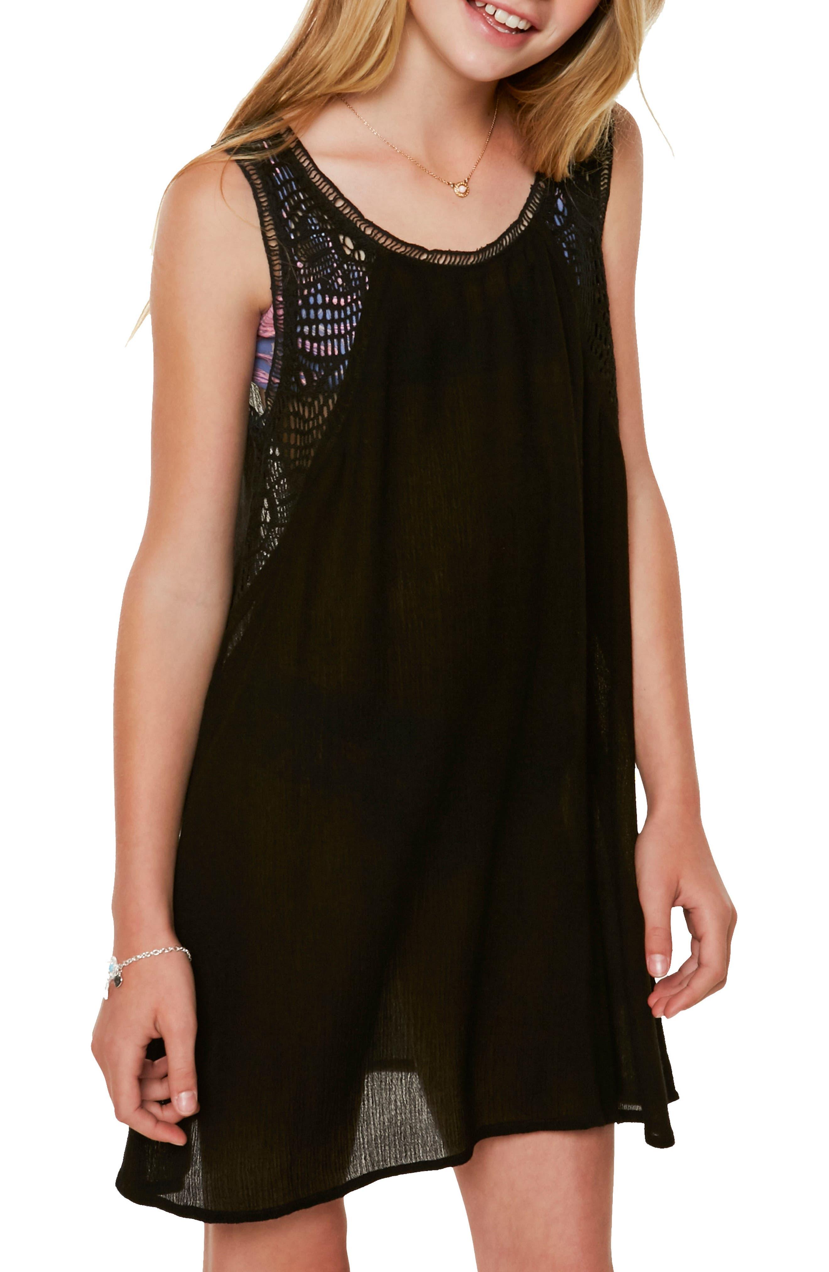 Addilyn Crochet Cover-Up Dress,                             Alternate thumbnail 4, color,                             001