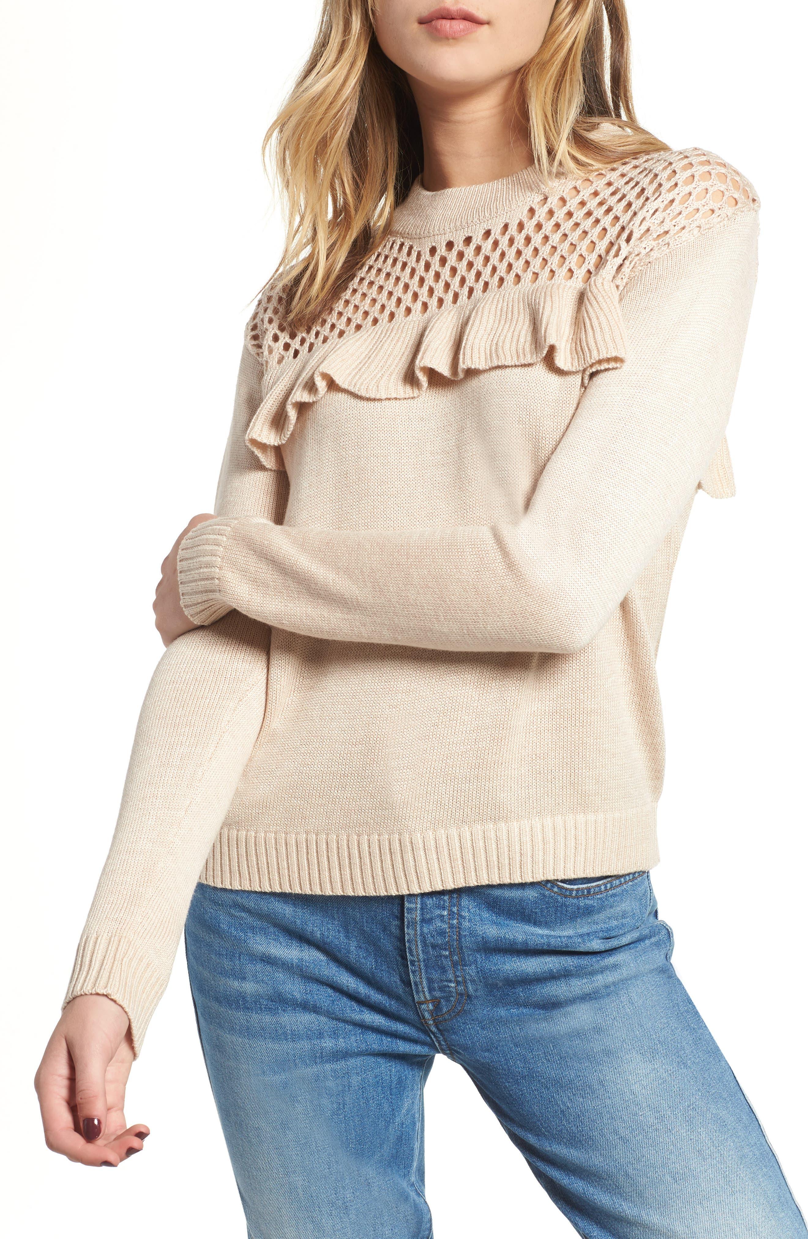Heartloom Mae Ruffle Sweater, Beige