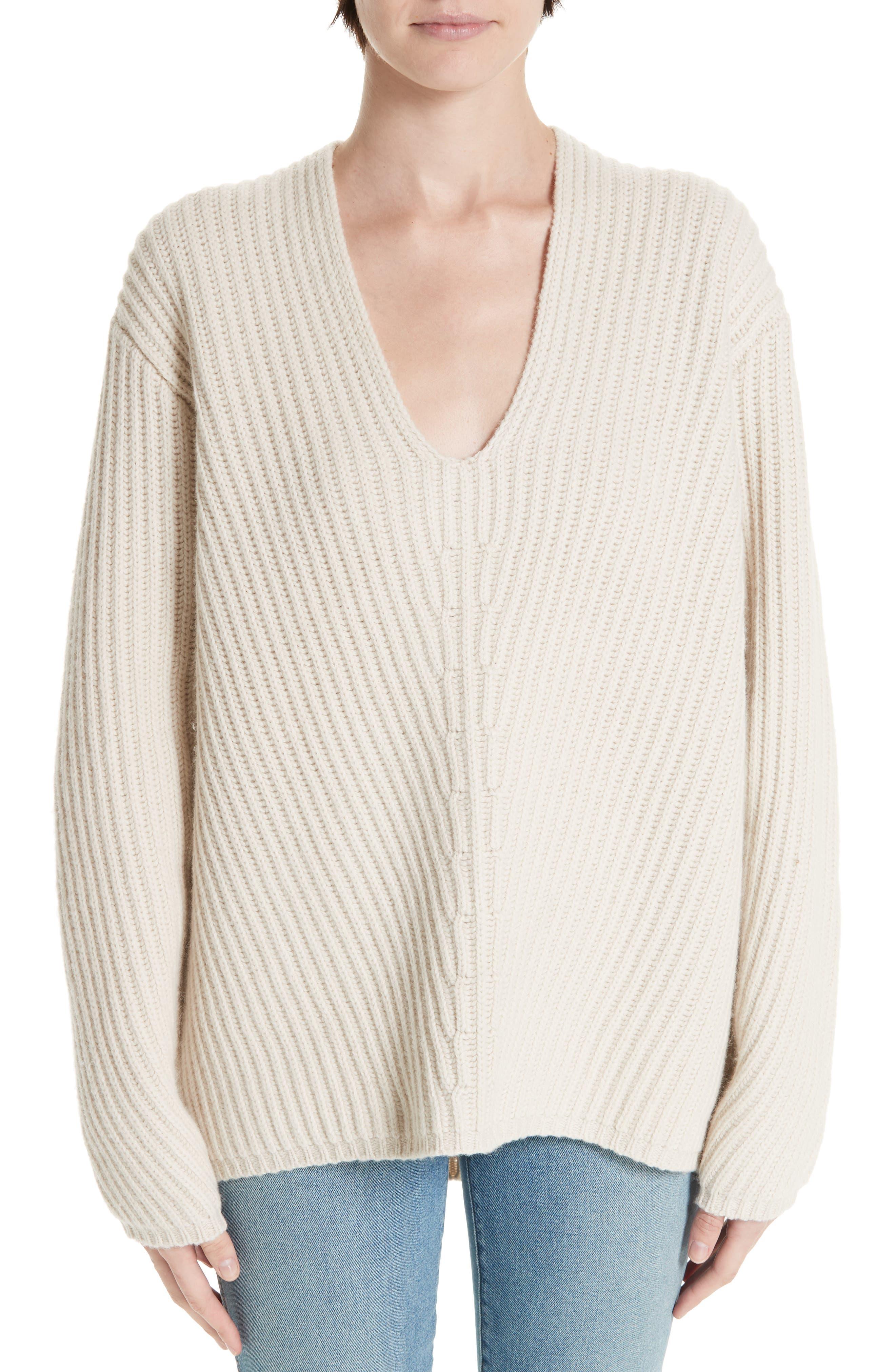 Acne Studios Deborah Oversized Wool Sweater, Beige