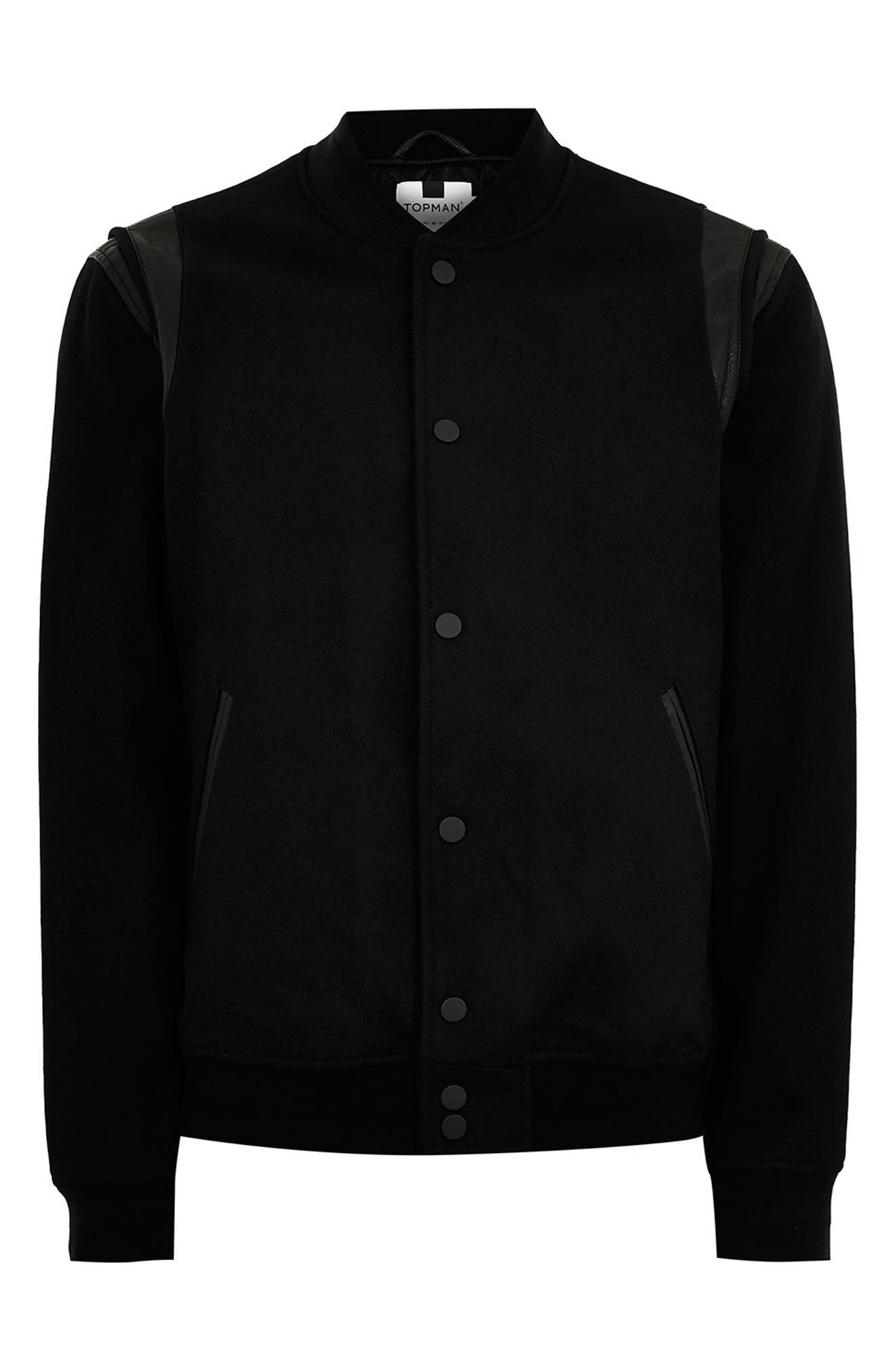 Wool Blend Varsity Jacket,                             Alternate thumbnail 4, color,                             BLACK