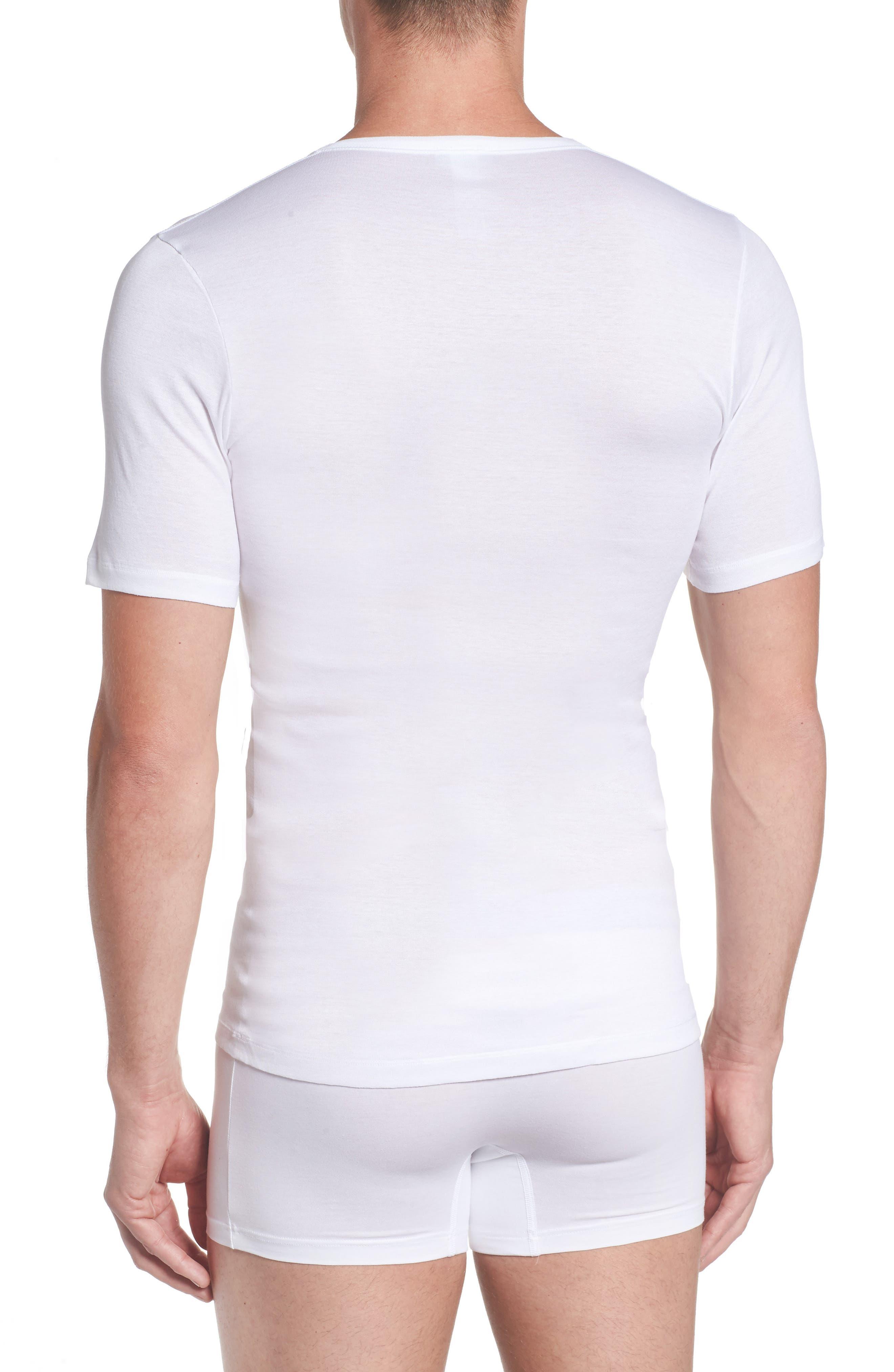 Cotton Pure V-Neck T-Shirt,                             Alternate thumbnail 2, color,                             100
